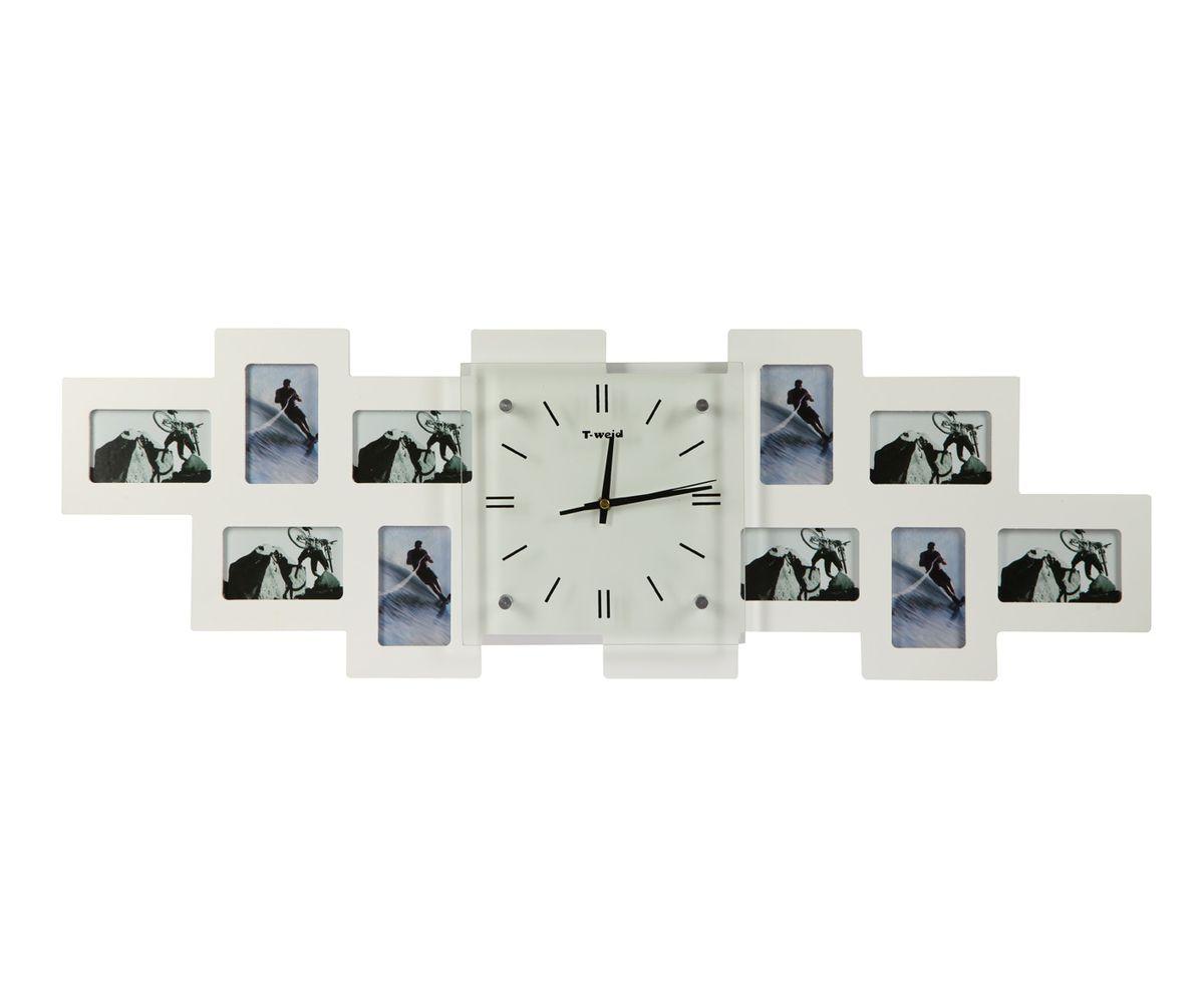 Часы настенные T-Weid, с фоторамками, цвет: белый, 26 х 80 х 5 смМ 9011 В WhiteНастенные кварцевые часы с фоторамками - это прекрасный предмет декора, а также универсальный подарок практически по любому поводу. Корпус часов, выполнен из дерева с белым матовым покрытием и оформлен десятью фоторамками. Циферблат часов оснащен тремя фигурными стрелками: часовой, минутной и секундной. Цифры и метки нанесены черной краской на внутренней стороне стекла. Циферблат и стрелки защищены прочным стеклом, который крепится четырьмя металлическими крепежами к корпусу. На задней стенке часов расположена металлическая петелька для подвешивания и блок с часовым механизмом. Часы с фоторамками прекрасно впишутся в любой интерьер. В зависимости оттого, что вы поместите в рамки, будет меняться и стиль часов. Тип механизма: плавающий, бесшумный. Рекомендуется докупить батарейку типа АА (не входит в комплект). для 10 фото 6 х 10 см