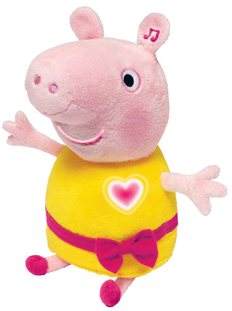 Peppa Pig Мягкая озвученная игрушка Пеппа цвет розовый желтый 30 см30567Мягкая игрушка Peppa Pig Пеппа, выполненная в виде главной героини мультфильма Свинка Пеппа, вызовет умиление и улыбку у каждого, кто ее увидит. Пеппа одета в желтое платье, украшенное красным поясом с бантиком. Она обладает уникальным эффектом речевой анимации, повторяющей движение рта при воспроизведении речи. Нажмите на ее левое ушко, и она споет вам 2 песенки, расскажет стихотворение и произнесет более 10 фраз из мультфильма голосом настоящей свинки Пеппы! А в это время на ее груди будет весело светиться сердечко. Игрушка озвучена профессиональной актрисой, которая четко и выразительно произносит каждое слово, тем самым развивая у ребенка четкую и выразительную речь. Проводя время в компании этой очаровательной игрушки, ваш малыш получит настоящее удовольствие от самой игры, легко выучит песенки, стишок и фразы, развивая память и воображение. Игрушка сшита из мягкого, приятного на ощупь плюша с пластиковыми элементами внутри, плотно...