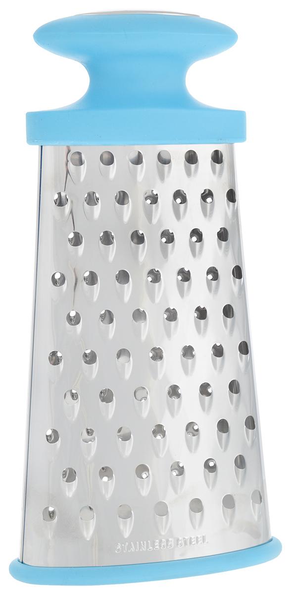 Терка многофункциональная Calve, 4 в 1, цвет: голубой, серебристыйCL-4159_голубой, серебристыйОвальная терка Calve, выполненная из высококачественной нержавеющей стали, оснащена удобной противоскользящей ручкой. Благодаря многофункциональным формам лезвия, предназначена для различных продуктов. Ее очень удобно мыть и хранить. Специальная силиконовая накладка предотвращает скольжение во время использования и защищает поверхность от повреждений. Порадуйте себя и своих близких качественным и функциональным подарком. Каждая хозяйка оценит все преимущества этой терки. Очень практичный и современный дизайн делает изделие весьма простым в эксплуатации. Высота терки: 24 см. Размер основания терки: 12,5 х 5,5 см