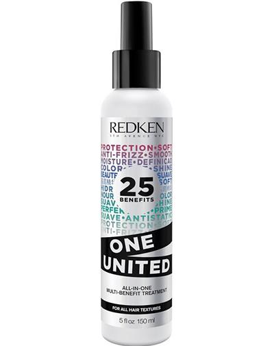 Redken One United Elixir Мультифункциональный спрей 25 в 1, 150 млP105610025 преимуществ Redken One United Elixir мультифункционального спрея: кондиционирует, питает, делает волосы более послушными, восстанавливает структуру волоса, увлажняет, обеспечивает легкость расчесывания, укрепляет, упрощает стрижку, основа под укладку, защищает от ломкости при расчесывании, подходит для окрашенных волос, является термозащитой, предотвращает образование секущихся концов, улучшает внешний вид кутикулы, подходит для ухода за окрашиванием ombre, защищает от внешних воздействий, добавляет гладкости, смягчает, улучшает блеск, защищает от влаги, уменьшает статику, дисциплинирует, упрощает укладку, освежает, не утяжеляет волосы.