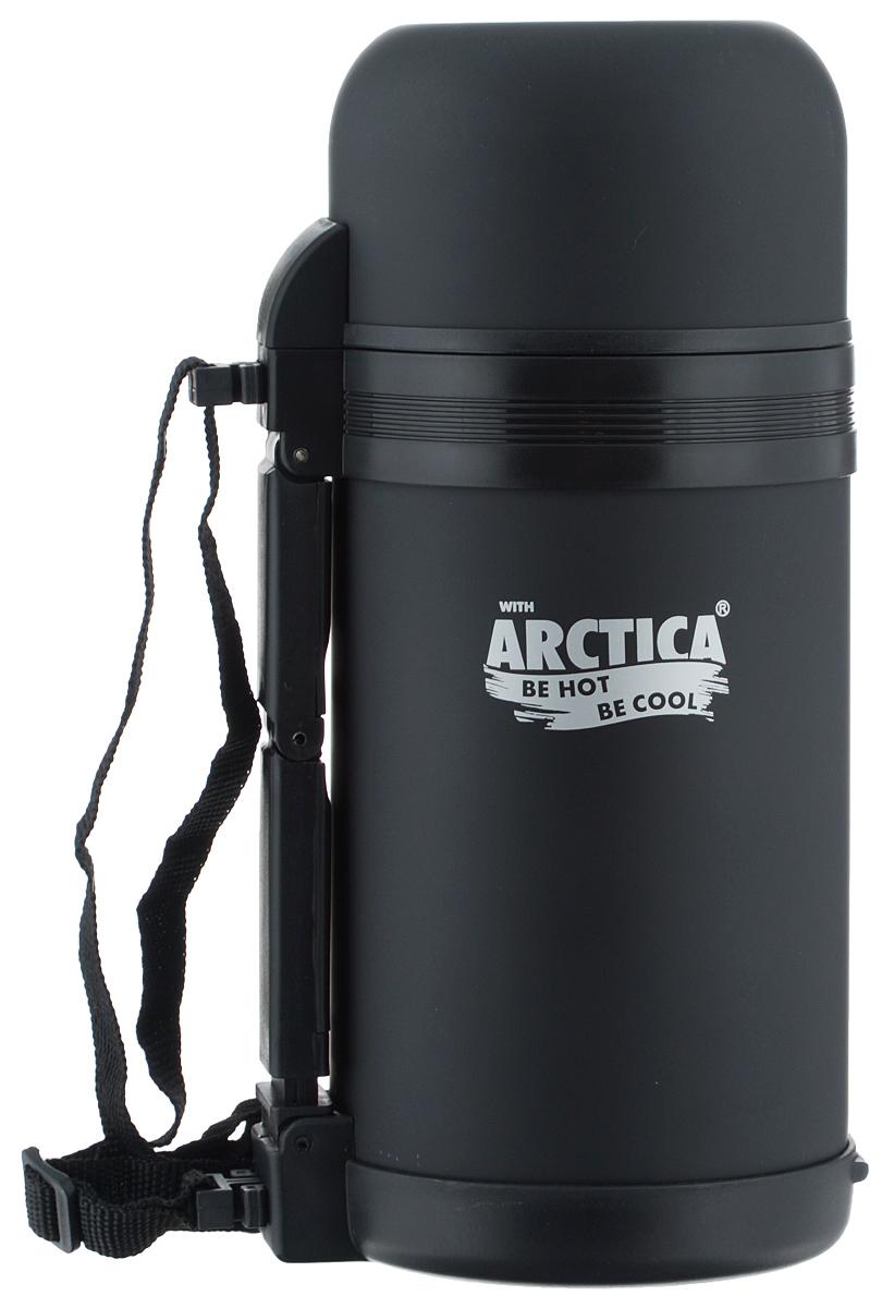 Термос Арктика, с чашей, цвет: черный, 1 л203-1000_черныйТермос Арктика сохранит вашу еду или напитки горячими в течение долгого времени. Изделие выполнено из высококачественной нержавеющей стали с элементами из пластика. Термос оснащен крышкой, которую можно использовать в качестве чаши или миски, так же есть дополнительная чаша и ремешок на плечо для удобной переноски. Пробка термоса состоит из двух составных частей: узкая внутренняя пробка пригодится для напитков, а более широкую внешнюю часть можно снять, чтобы удобнее было доставать из термоса еду. Забудьте об этих неудобствах - вместительный и компактный термос Арктика с радостью послужит вам в качестве миниатюрной полевой кухни, поднимет настроение нарядным внешним видом и вкусной домашней едой. Не рекомендуется мыть в посудомоечной машине. Время сохранения температуры (холодной и горячей): 20 часов. Диаметр широкого горлышка (по верхнему краю): 7,5 см. Диаметр клапана: 6,5 см. Диаметр крышки (по верхнему краю): 10,5 см....