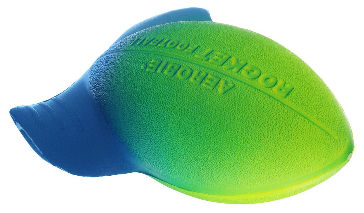Aerobie Мяч Rocket Football цвет желтый салатовый синий76_желтый салатовый синийМягкий мяч для бросков Aerobie Rocket Football изготовлен из мягкого эластичного материала, что позволяет обезопасить ладони игроков при приеме мяча. Несмотря на его маленький размер, особым образом изогнутые края сделают эффектным бросок даже на большую дистанцию. Специально разработанный аэродинамический дизайн позволяет делать точные и меткие броски, будь они произведены даже из-за спины игрока, делая увлекательной игру не только для детей, но и для их родителей.