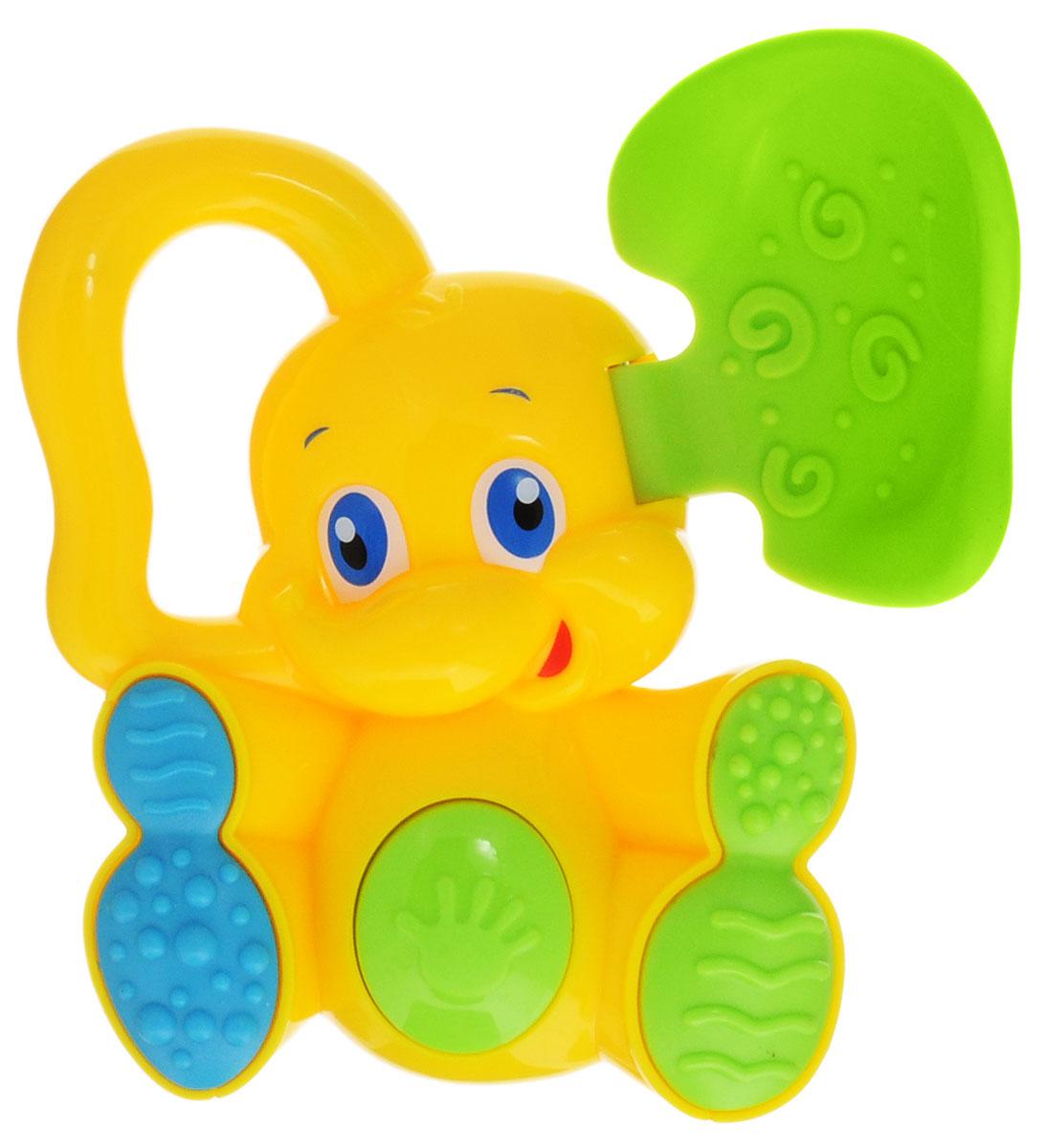Bondibon Погремушка Слоненок с прорезывателем цвет желтый зеленыйВВ1490_желтый, зеленыйBondibon Погремушка с прорезывателем Слоненок сможет развлечь вашего ребенка дома, на прогулке, в поездке или гостях. Погремушка изготовлена из прочного пластика и выполнена в виде забавного улыбающегося слоненка. Одно ухо у слоненка гибкое и рельефное - его ребенок может использовать как прорезыватель для зубок. Соприкасающаяся с деснами ребенка поверхность прорезывателя достаточно мягкая, чтобы нечаянно не поранить десны при надавливании, и в меру жесткая для того, чтобы ее пожевать или погрызть во время роста молочных зубов. Второе ухо выполнено в форме кольца, за которое игрушку будет удобно держать в ручке и играть. Лапы слоненка имеют рельефные узоры, что позволят крохе развивать тактильное восприятие. В животике погремушки спрятана пищалка. Погремушка специально разработана с учетом особенностей строения ручек малыша и не будет скользить. Яркие цвета и звуки, которые издает игрушка, развивают слуховое и зрительное восприятие, пространственное мышление и...