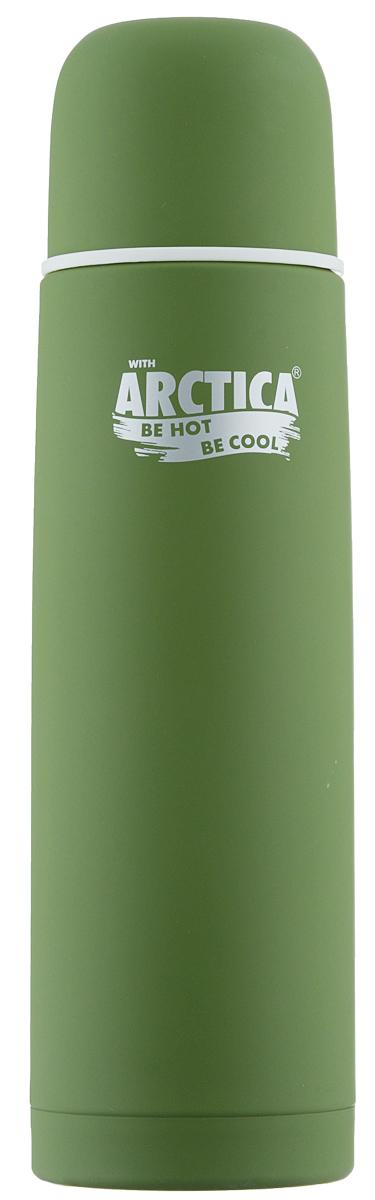 Термос Арктика, с кнопкой, цвет: зеленый, 0,75 л103-750К зелёный с кнопкойКлассический термос Арктика с резиновым шелковым покрытием сохранит температуру напитков. Термос выполнен из нержавеющей стали с использованием пищевого пластика с отделкой эффект шелка. Ударопрочный корпус состоит из двух колб, выполненных из нержавеющей стали с вакуумом между ними. Термос оснащен удобной пробкой с кнопкой для наливания без откручивания. Стильный функциональный термос будет незаменим в дороге, на пикнике. Его можно взять с собой куда угодно, и вы всегда сможете наслаждаться горячим домашним напитком. Диаметр горлышка: 5,2 см. Диаметр основания: 7,8 см. Высота (с учетом крышки): 28,5 см. Время сохранения температуры (холодной и горячей): 24 часа.