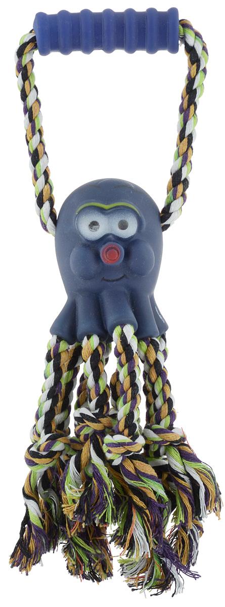 """Игрушка для собак Каскад """"Канат. Осьминог"""", с пищалкой, цвет: синий, зеленый, белый, длина 30 см 27799300"""