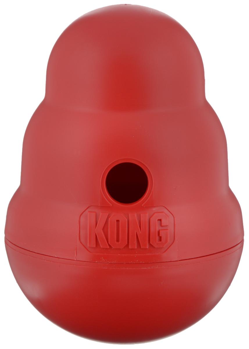 Игрушка для средних собак Kong Wobbler, интерактивная, 11 х 11 х 15,5 смPW2EKong Wobbler - это интерактивная игрушка для собак с функцией дозировки еды. Изделие выполнено из высокопрочного полимера. Игрушка стоит вертикально, пока собака не толкнет ее носом или лапой. Лакомства или корм выпадают по мере того как игрушка катится и вращается. Благодаря непредсказуемости движения, игрушка остается занимательной даже для собак, давно к ней привыкших. Вы можете использовать ее как альтернативу обычной миске, так как она помогает продлить время кормления, тем самым предотвращая переедание и набор лишнего веса. Поддержание активности и хорошей физической формы важно для профилактики заболеваний сердечно-сосудистой и опорно-двигательной системы.