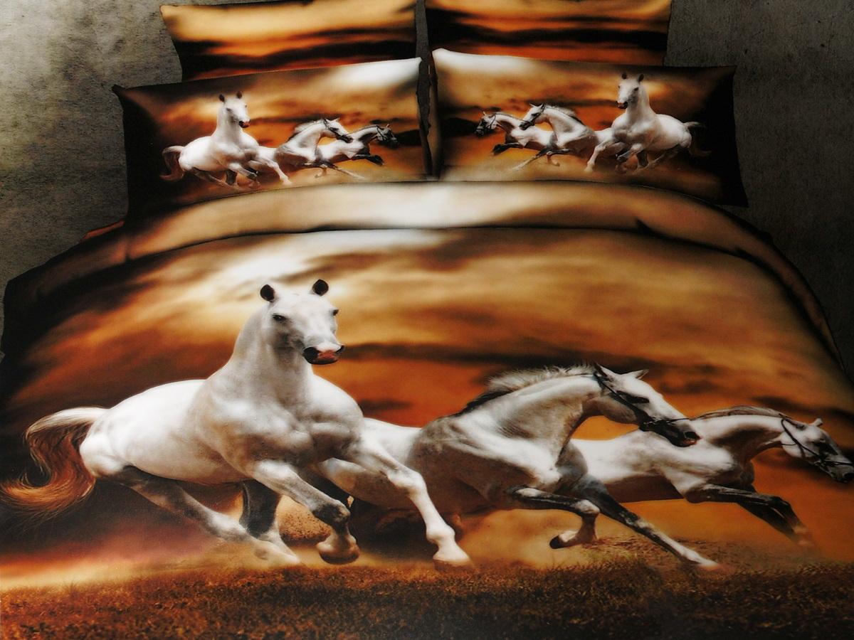 Комплект белья 3D Cleo Белые лошади, евро, наволочки 50x70, 70x7031/1031-3DКоллекция CLEO Сатин 3D – погружение в мир красок! Сатин - это ткань из 100% хлопка, сатинового переплетения, имеет гладкую, шелковистую лицевую поверхность. Сатин изготавливается из крученой хлопковой нити двойного плетения. Сатин обладает рядом преимуществ: приятен на ощупь, не электризуется и не скользит, прекрасно сохраняет форму и не мнется, отлично пропускает воздух, не садится при стирке, не утрачивает яркости красок, не вызывает раздражения. Благодаря уникальному способу нанесения рисунка на ткань создается эффект 3D, краски становятся ярче, а дизайны реалистичнее. Вы погружаетесь в уникальный мир цветов, пейзажей и фауны. Комплект состоит из пододеяльника, четырех наволочек и простыни.