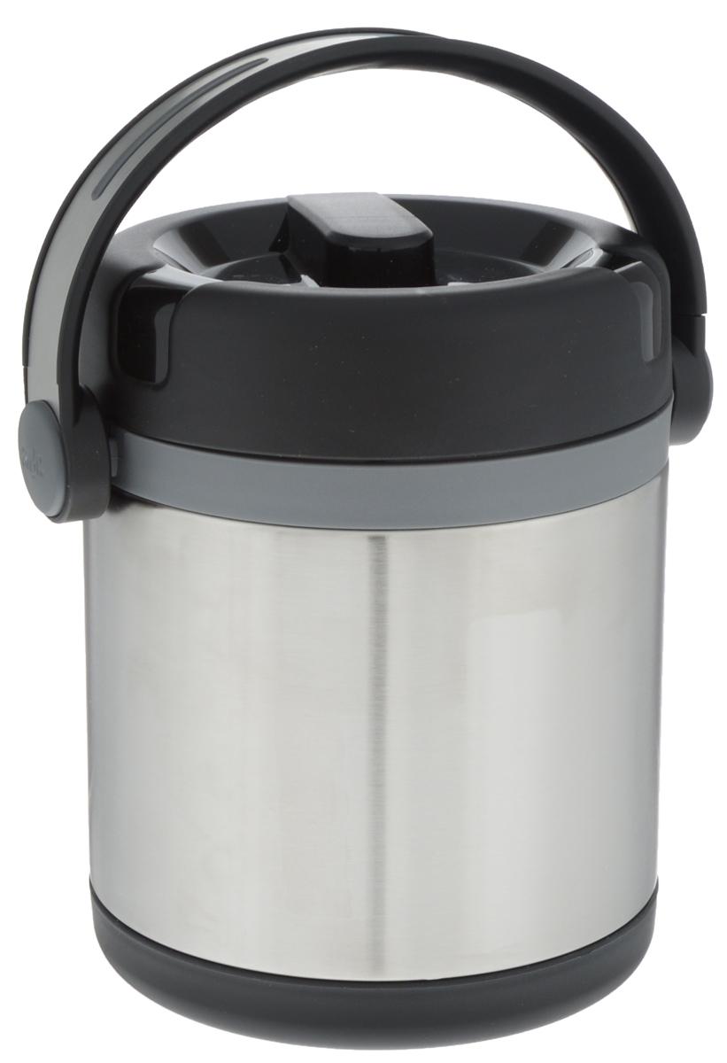 Термос Emsa Mobility, внутренним контейнером, цвет: черный, серебристый, 1,2 л509244Термос Emsa Mobility, выполненный из нержавеющей стали, поможет вам сохранить нужную температуру продуктов. Термос сохраняет пищу горячей и холодной на протяжении длительного времени. Оснащен внутренним контейнером, который можно разогревать в микроволновой печи. Термос Emsa Mobility прекрасно подходит для дома, офиса и для путешествий. Вакуумная изоляция сохраняет еду горячей на протяжении 6 часов, холодной - около 12 Диаметр термоса по верхнему краю: 11,5 см. Диаметр дна: 13 см. Высота термоса с учетом крышки: 17 см.