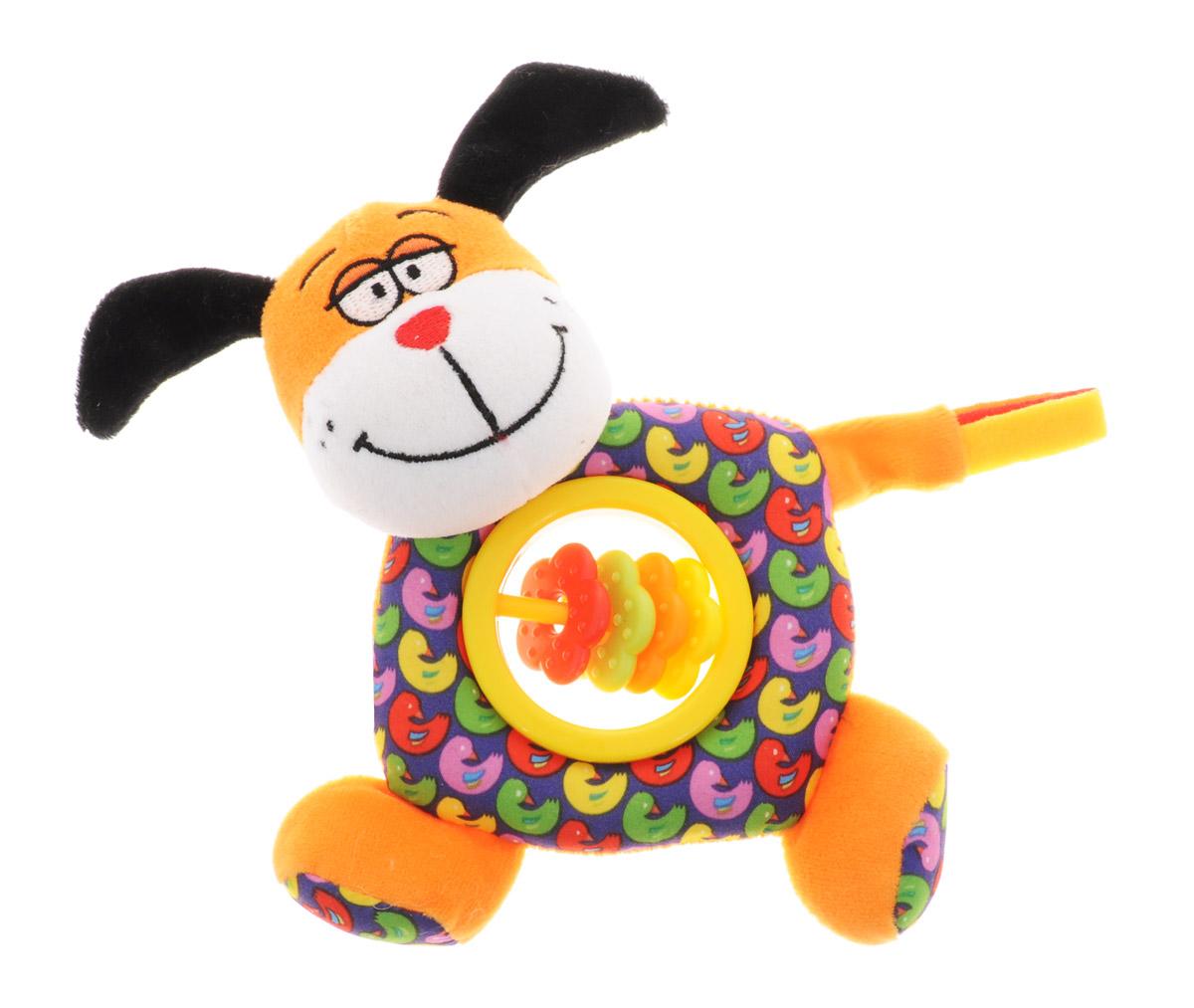 Bondibon Мягкая игрушка-погремушка Собака-пищалка цвет оранжевый синийВВ1300_собакаМягкая игрушка-погремушка Собака-пищалка не оставит вашего малыша равнодушным и не позволит ему скучать. Игрушка выполнена из высококачественных текстильных материалов и мягкого наполнителя. Внутри ушек спрятаны шуршащие элементы. В теле игрушки имеется пластиковое кольцо с яркими цветочками на перекладине. Собачка всегда успокоит вашего малыша, а приятный звук погремушки отвлечет от беспокойства. В голове собачки спрятана пищалка. Яркая игрушка формирует тактильные ощущения, восприятие звуков, цветов и форм. В процессе игры развивается мелкая моторика и воображение вашего ребенка.