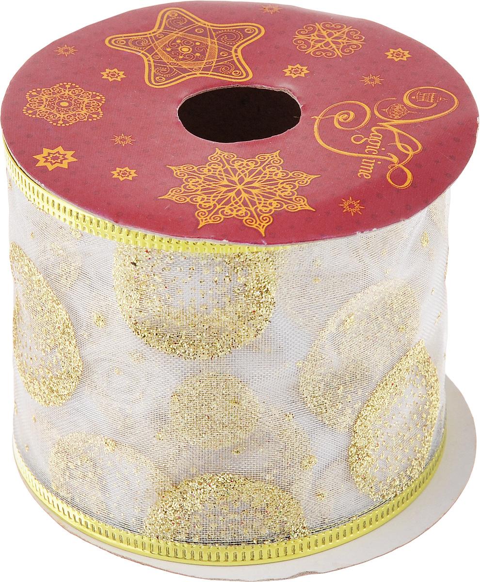 Лента новогодняя Magic Time Золотые круги, 6,3 см х 2,7 м42804Новогодняя декоративная лента Magic Time Золотые круги на картонной катушке выполнена из ткани и украшена блестками. Лента украсит интерьер вашего дома или офиса в преддверии Нового года. Оригинальный дизайн и красочность исполнения создадут праздничное настроение. Новогодние украшения всегда несут в себе волшебство и красоту праздника. Создайте в своем доме атмосферу тепла, веселья и радости, украшая его всей семьей. Длина ленты: 270 см. Ширина ленты: 6,3 см.