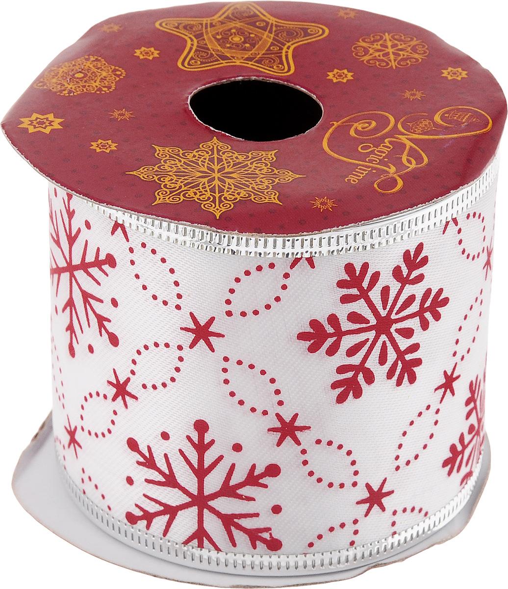 Лента новогодняя Magic Time Красные снежинки, 6,3 см х 2,7 м42819Декоративная лента Magic Time Красные снежинки выполнена из полиэстера. В края ленты вставлена проволока, благодаря чему ее легко фиксировать. Она предназначена для оформления подарочных коробок, пакетов. Кроме того, декоративная лента с успехом применяется для художественного оформления витрин, праздничного оформления помещений, изготовления искусственных цветов. Декоративная лента украсит интерьер вашего дома к праздникам. Ширина ленты: 6,3 см.
