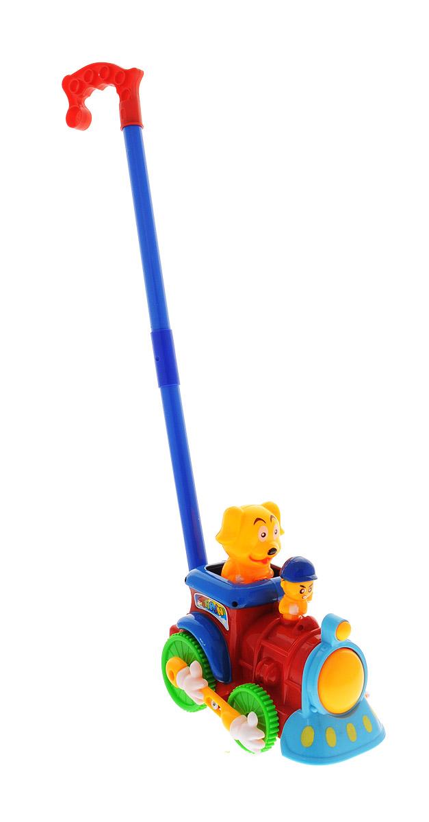 Ami&Co Игрушка-каталка Поезд цвет красный синий желтый44416_красный, синий, желтыйЗабавная игрушка-каталка Ami&Co Поезд станет любимой игрушкой вашего малыша. Каталка выполнена в виде забавного поезда с животными, к которому крепится ручка-держатель. При вращении колес издается сигнал, а собачка, которая находится на пассажирском сидении, подпрыгивает вверх-вниз. Детская каталка предназначена для малышей, которые уже начали ходить самостоятельно. Яркие, забавные образы принесут радость и веселье во время игр. Игрушка поможет развить координацию движения, тактильные навыки и мелкую моторику рук ребенка, а издаваемые ею звуки активно стимулируют его слух. Порадуйте своего ребенка таким замечательным подарком!
