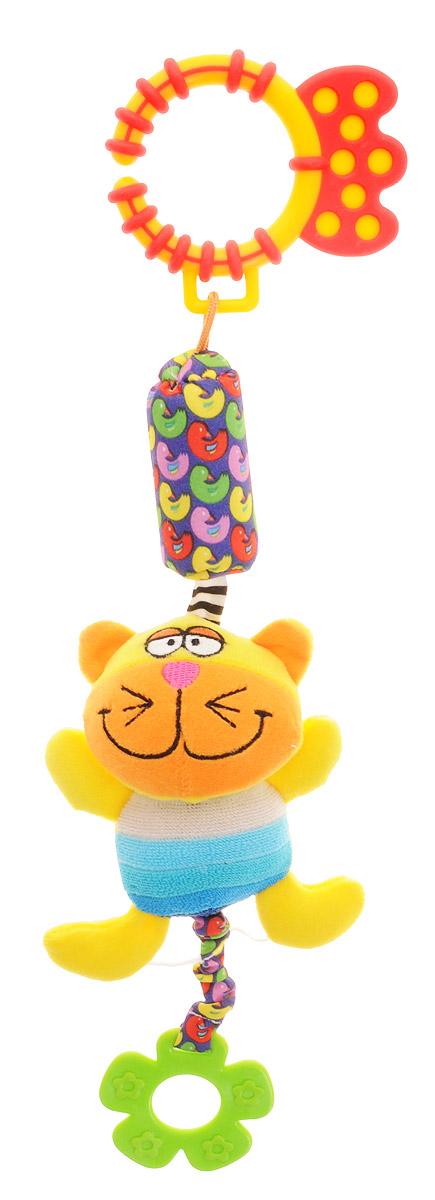 Bondibon Игрушка-подвеска КотВВ1287_котМягкая развивающая игрушка Кот изготовлена из ярких тканей разных цветов и разной фактуры. Как же весело и интересно ее рассматривать! Но держать ее в маленьких ручках еще интереснее, ведь она таит в себе столько приятных сюрпризов и удивительных открытий! Игрушка представляет собой смешного желтого котика на веревочке с элементом погремушки. К котику прикреплен мягкий прорезыватель для зубов в виде цветочка. Котика можно использовать в качестве подвески над кроваткой или коляской, прикрепив за практичное пластиковое кольцо. Яркая игрушка формирует тактильные ощущения, восприятие звуков, цветов и форм. В процессе игры развивается мелкая моторика и воображение вашего ребенка.
