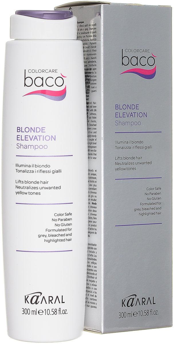 Kaaral Шампунь, дающий блеск волосам и тонирующий седые волосы Baco Color Collection-Blonde Elevation Shampoo, 300 млkaar1074После использования такого средства ваши волосы напитаны по всей длине и сверкают здоровым блеском. В состав шампуня входят жидкие протеины и микропигменты. Благодаря этому средство лучше проникает и эффективнее действую на оттенок волос. Протеины шелка обладают свойствами схожими с кератином, который является строительным материалом волос. Часть аммиака в пигментах составляет всего лишь 3%, поэтому шампунь очень бережно относится к волосам. Цвет после использования такого средства сохраняется на более длительное время. Шампунь делает тон окрашенных волос более блестящим и насыщенным, а седые волосы тонирует.