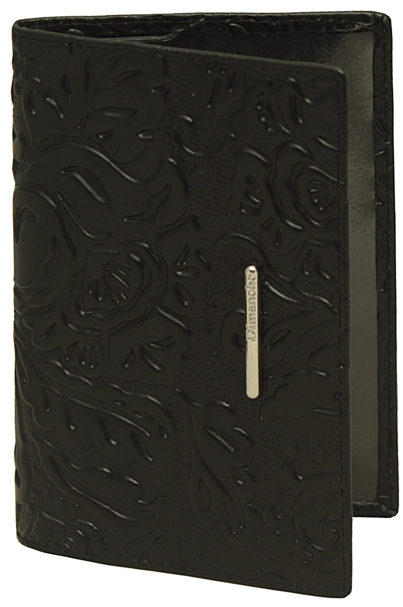 Обложка для документов женская Dimanche, цвет: черный. 350350Элегантная обложка для паспорта из натуральной кожи с оригинальным тиснением и изящным украшением. На внутреннем развороте два кармана из прозрачного пластика.