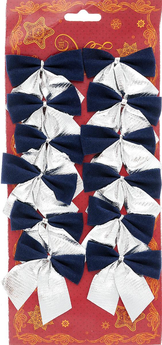 Украшение новогоднее Magic Time Бант, цвет: синий, серебряный, 5,5 х 6 см, 12 шт42770Новогоднее украшение Magic Time Бант отлично подойдет для декорирования вашего дома и новогодней ели. Игрушка выполнена из полиэстера в виде бантика. Украшение можно привязать к ели. Елочная игрушка - символ Нового года. Она несет в себе волшебство и красоту праздника. Создайте в своем доме атмосферу веселья и радости, украшая всей семьей новогоднюю елку нарядными игрушками, которые будут из года в год накапливать теплоту воспоминаний.