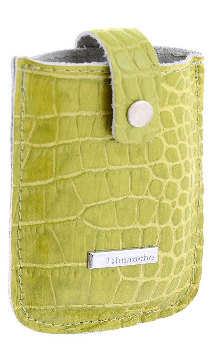 Визитница женская Dimanche, цвет: лаймовый. 283/19283/19Визитница Dimanche выполнена из натуральной кожи с тиснением под рептилию и оформлена металлической пластинкой с названием бренда. Изделие закрывается хлястиком на кнопку. Внутри расположен вместительный карман для визитных и дисконтных карт.
