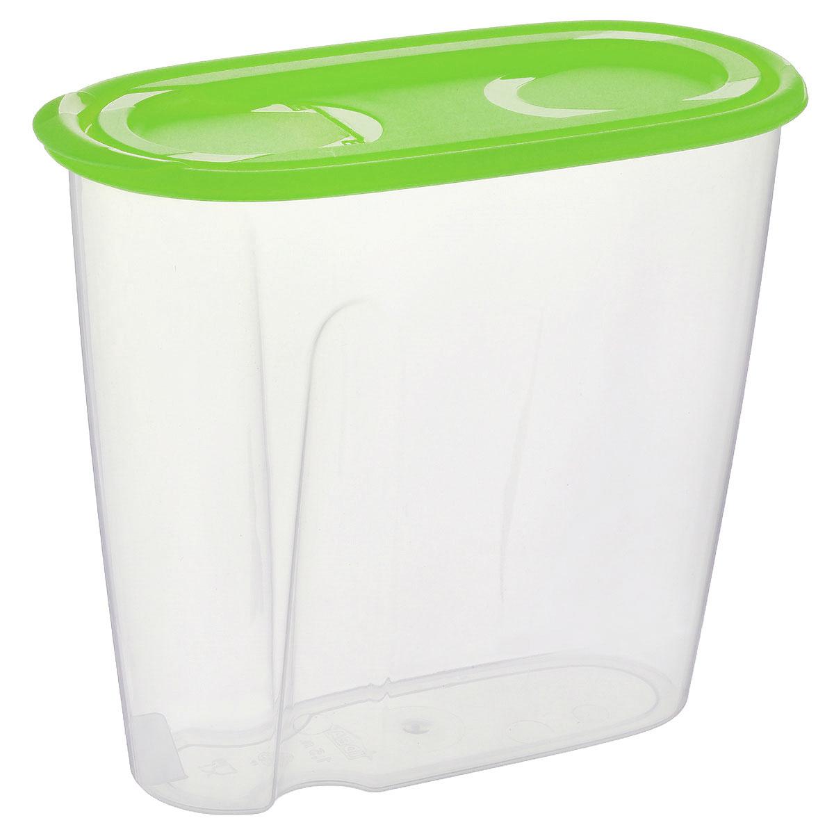 Емкость для сыпучих продуктов Idea, цвет: прозрачный, салатовый, 1,5 лМ 1221Емкость Idea выполнена из пищевого полипропилена и предназначена для хранения сыпучих продуктов, в том числе с ярко выраженным запахом (чай, кофе, специи). Не содержит Бисфенол A. Изделие оснащено плотно закрывающейся крышкой, благодаря которой продукты не выдыхаются и дольше остаются свежими. Овальная форма и специальные углубления помогают комфортно удерживать емкость в руке.