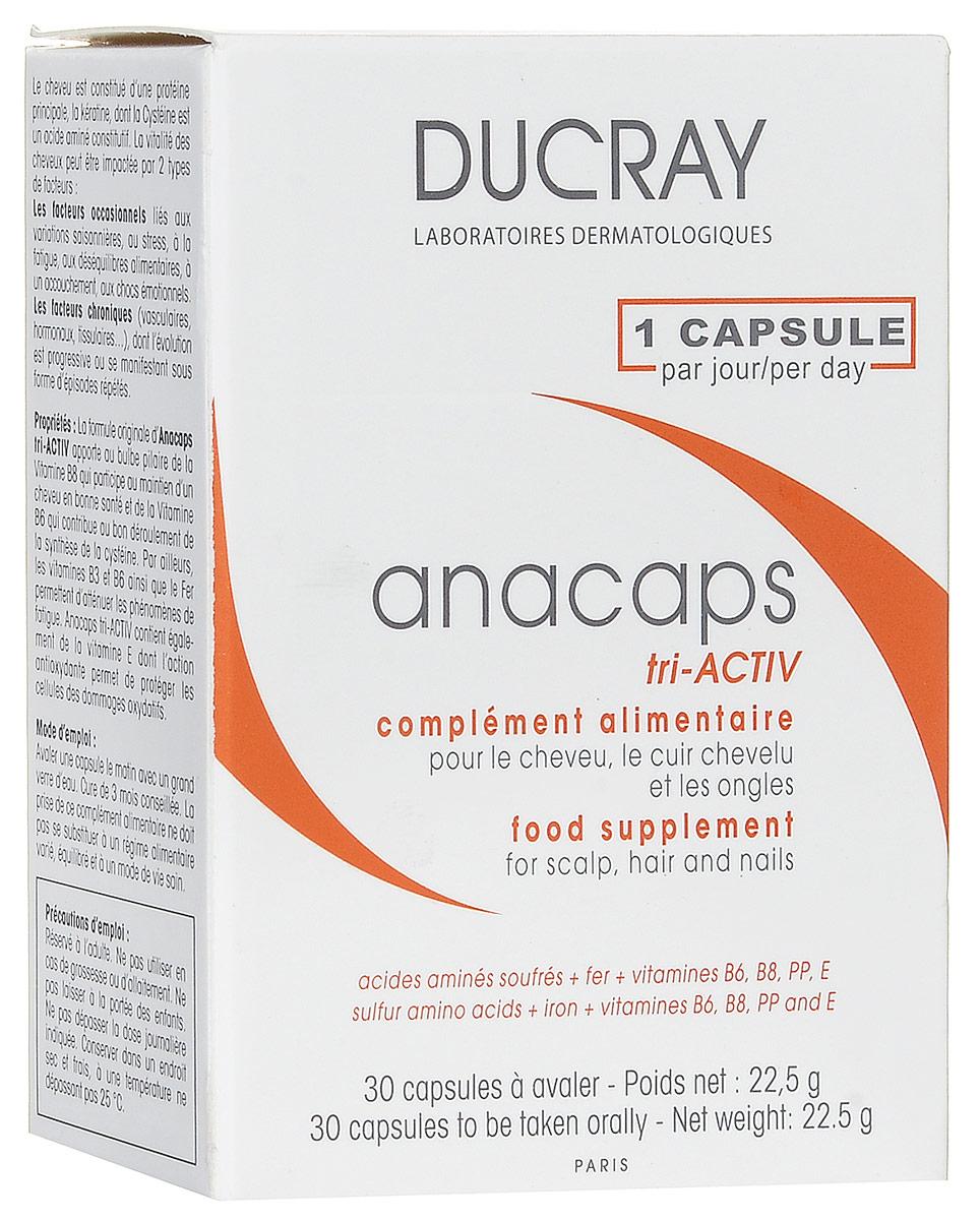 Ducray Anacaps Tri Activ Капсулы для роста волос и ногтей N30C39340Мощный инновационный комплекс против выпадения волос. Стимулирует рост волос и ногтей, укрепляет их благодаря 100% дневной норме железа и другим жизненно важным компонентам. Железо 14 мг. 100% рекомендуемой дневной нормы потребления железа. Продлевает фазу роста волос и обеспечивает доставку кислорода в волосяную луковицу. Комплекс витаминов Е, В6, В8, РР. Активизирует метаболизм волос и и улучшает их структуру. Серосодержащие аминокислоты: цистеин 125 мг и метионин 125 мг. Стимулирует рост волос и ногтей