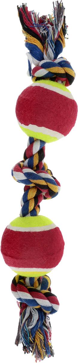 """Игрушка для собак Каскад """"Канат. 3 узла + 2 мяча"""", цвет: салатовый, красный, длина 35 см 27799290_салатовый, красный"""
