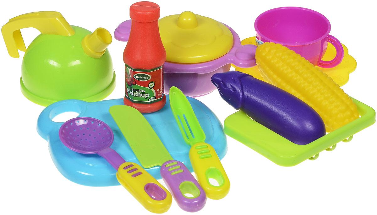 Shantou Игрушечный набор посуды с продуктами 12 предметов цвет доски голубойT740-H38027С игрушечным набором посуды с продуктами Shantou юная любительница кулинарии почувствует себя настоящим шеф-поваром. В наборе 12 предметов: разделочная доска, чайник, 3 столовых прибора, чашка, тарелка, муляжи продуктов, кастрюля с крышкой и многое другое. Словом, в наборе имеется все необходимое для приготовления и подачи блюд друзьям по игре. Посуда изготовлена из безопасного яркого пластика. С таким набором день будет наполнен увлекательными и одновременно познавательными играми.