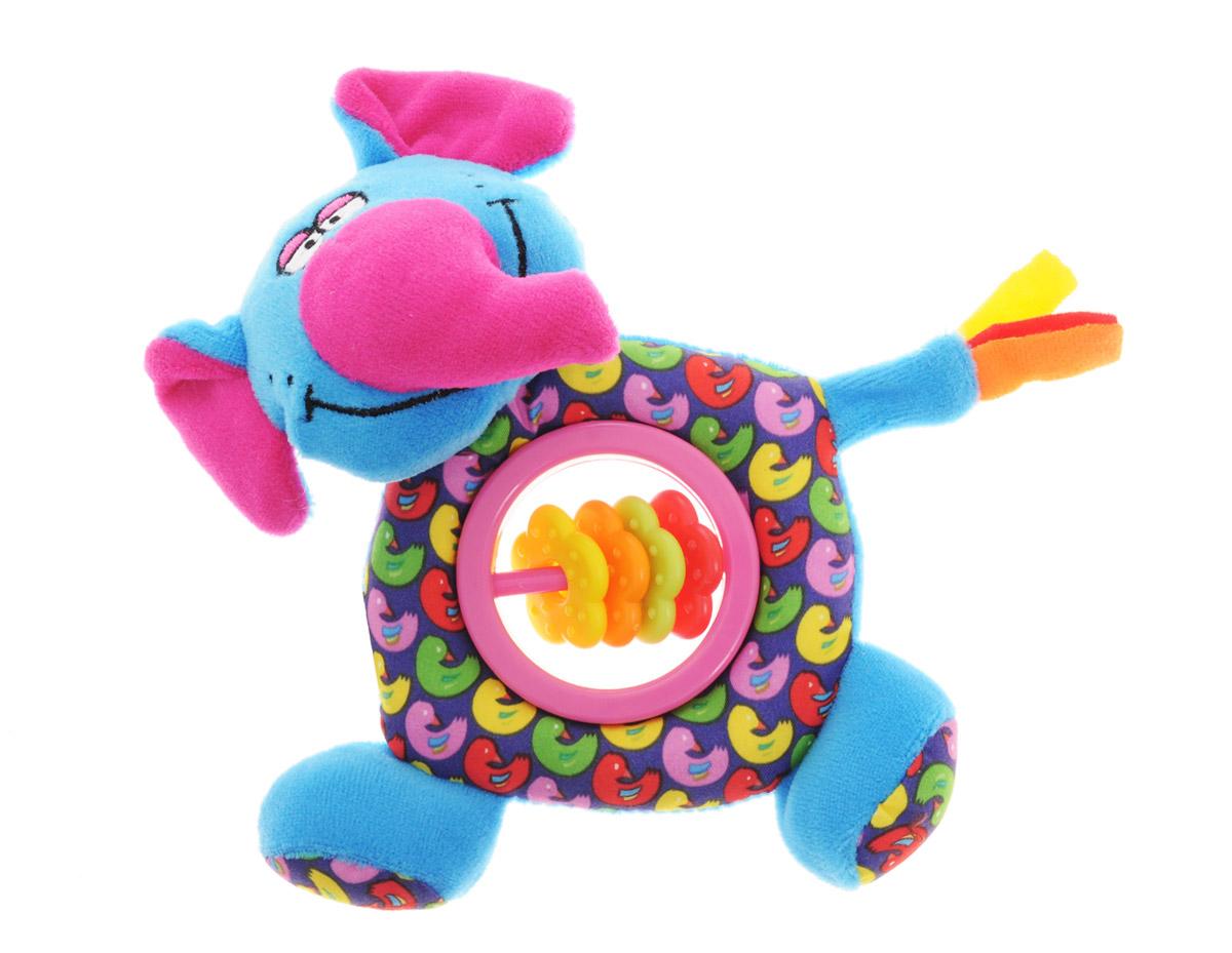 Bondibon Мягкая игрушка-погремушка Слон-пищалка цвет синий малиновыйВВ1300_слонМягкая игрушка-погремушка Слон-пищалка не оставит вашего малыша равнодушным и не позволит ему скучать. Игрушка выполнена из высококачественных текстильных материалов и мягкого наполнителя. Внутри ушек спрятаны шуршащие элементы. В теле игрушки имеется пластиковое кольцо с яркими цветочками на перекладине. Слоник всегда успокоит вашего малыша, а приятный звук погремушки отвлечет от беспокойства. В голове слоника спрятана пищалка. Яркая игрушка формирует тактильные ощущения, восприятие звуков, цветов и форм. В процессе игры развивается мелкая моторика и воображение вашего ребенка.
