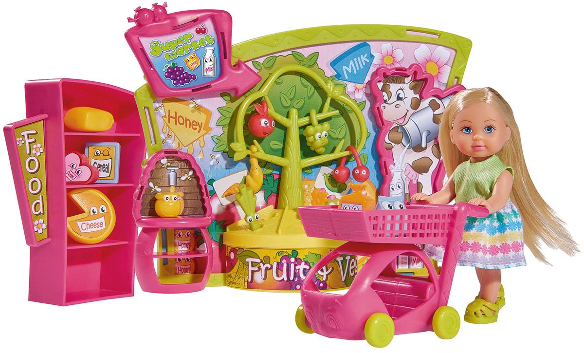 Simba Игровой набор Еви в супермаркете5737458Игровой набор Simba Еви в супермаркете порадует любую девочку и надолго увлечет ее. Кукла Еви отправляется в супермаркет с тележкой для покупок и множеством аксессуаров. В набор также входят витрина, стеллаж, ну и конечно же сами продукты. Еви весело проводит время, когда ходит за покупками в магазин. Кукла одета в стильное платье, которое декорировано узорами из снежинок. Вашей дочурке непременно понравится заплетать длинные белокурые волосы куклы, придумывая разнообразные прически. Руки, ноги и голова куклы подвижны, благодаря чему ей можно придавать разнообразные позы. Игры с куклой способствуют эмоциональному развитию, помогают формировать воображение и художественный вкус, а также разовьют в вашей малышке чувство ответственности и заботы. Великолепное качество исполнения делают эту куколку чудесным подарком к любому празднику.