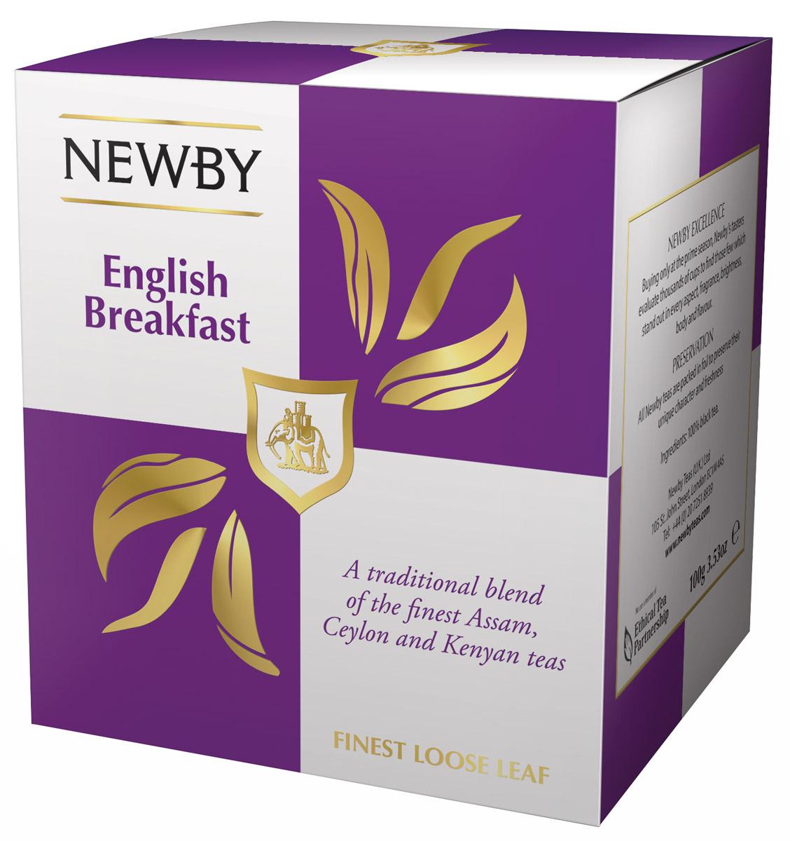 Newby English Breakfast черный листовой чай, 100 г0766031103287Newby English Breakfast - популярная смесь черных сортов чая из Ассама, Цейлона и Кении. Сбалансированный терпкий солодовый вкус с приятными цитрусовыми и пряными нотками. Чашка крепкого чая насыщенного янтарного цвета и богатого вкуса идеальна для начала дня.