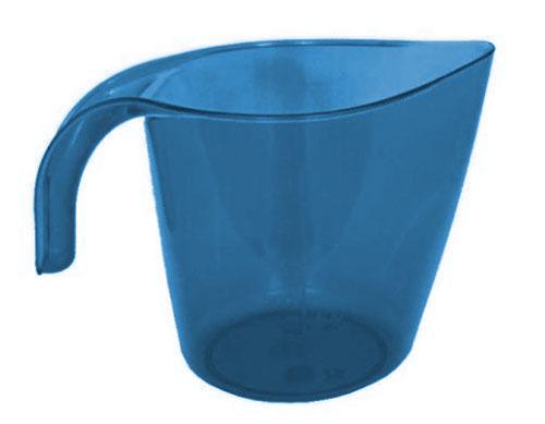 Кружка мерная, цвет: прозрачный, синий, 1л. M323M323Кружка мерная V=1л h=140 мм (прозрачный пластик с ручкой)