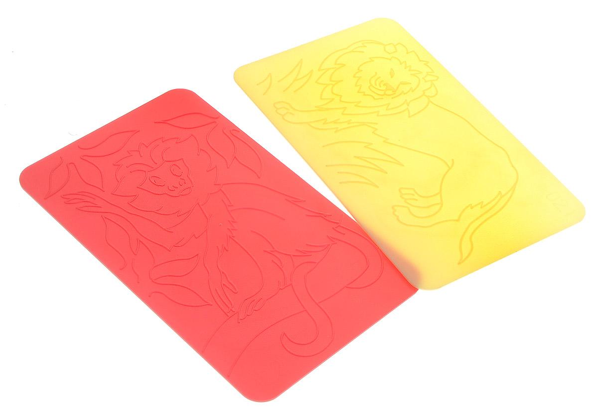 Луч Трафареты рельефные Лев цвет желтый красный 2 шт