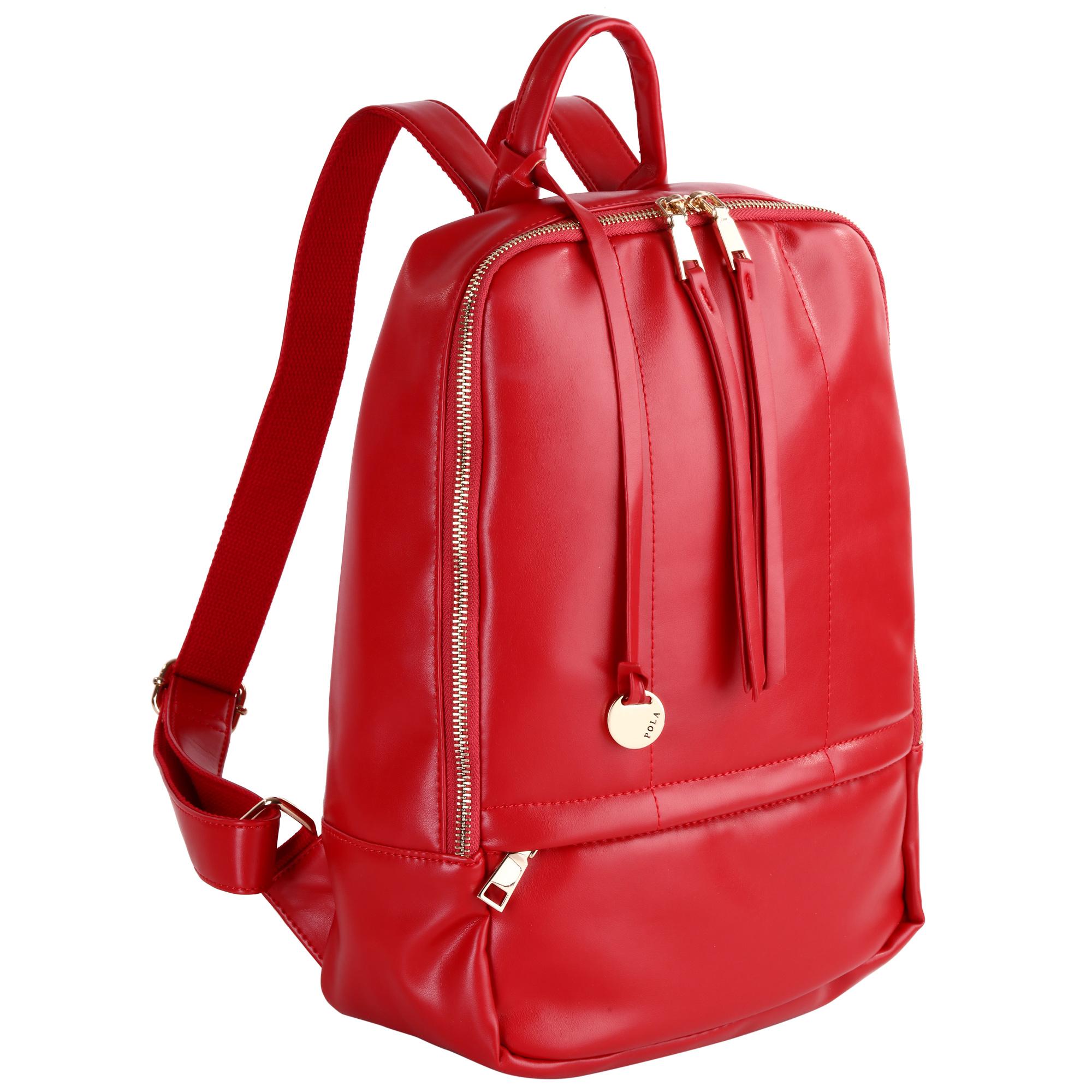 Рюкзак женский Pola, цвет: красный. 44124412Стильный женский рюкзак Pola - очень практичен в повседневном использовании. Основное отделение закрывается на металлическую молнию. Внутри - два кармана на молнии и два открытых кармашка. Снаружи – карман на молнии сзади и спереди рюкзака. Лямки регулируются по длине. Эта универсальная модель идеально подойдет как для путешествий, так и для учебы или работы, а так же позволит Вам взять с собой все самое необходимое.