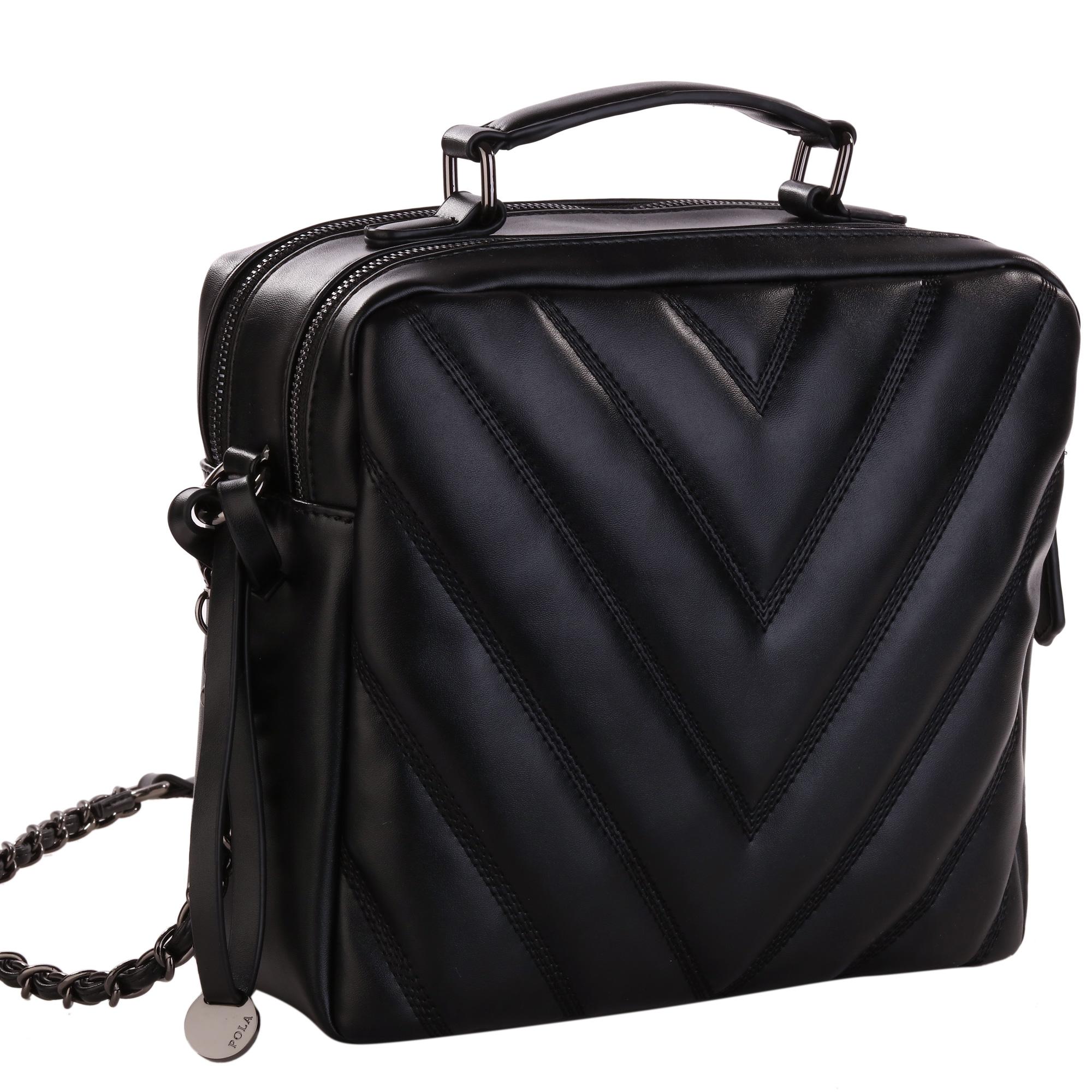 Сумка женская Pola, цвет: черный. 82768276Женская сумка фирмы Pola выполнена из экокожи. Имеет два независимых отделения на металлических молниях. Внутри два открытых кармана и один карман на молнии. В комплекте съемный, нерегулируемый плечевой ремень, высотой 58 см. Цвет фурнитуры- черный.