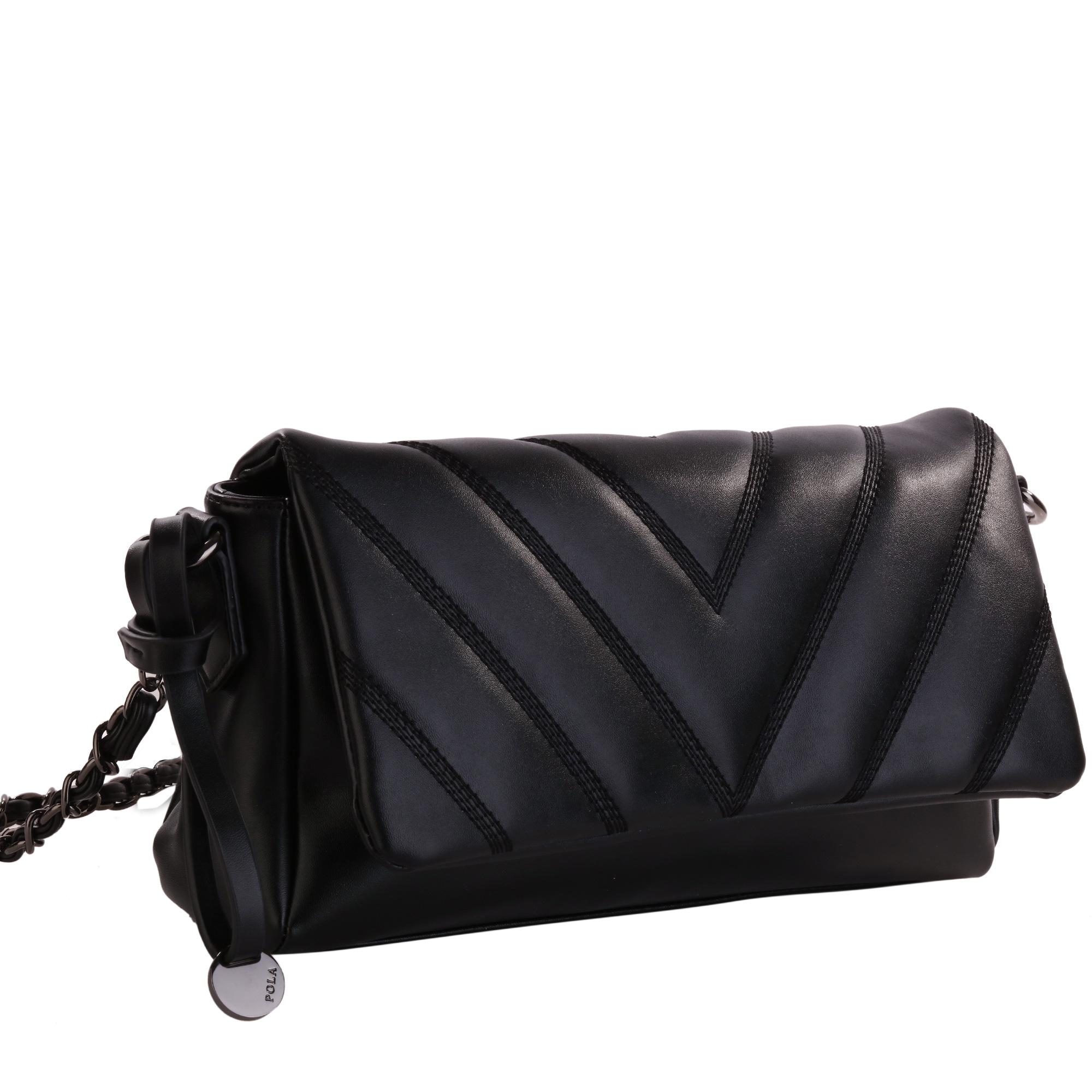 Сумка женская Pola, цвет: черный. 82778277Женская сумка Pola выполнена из экокожи. Основное отделение закрывается клапаном на магнитной кнопке, и застегивается на молнию. Внутри один карман на молнии и два открытых кармана. В комплекте съемный плечевой ремень, нерегулируемый по длине, высотой 59 см. Цвет фурнитуры- черный.