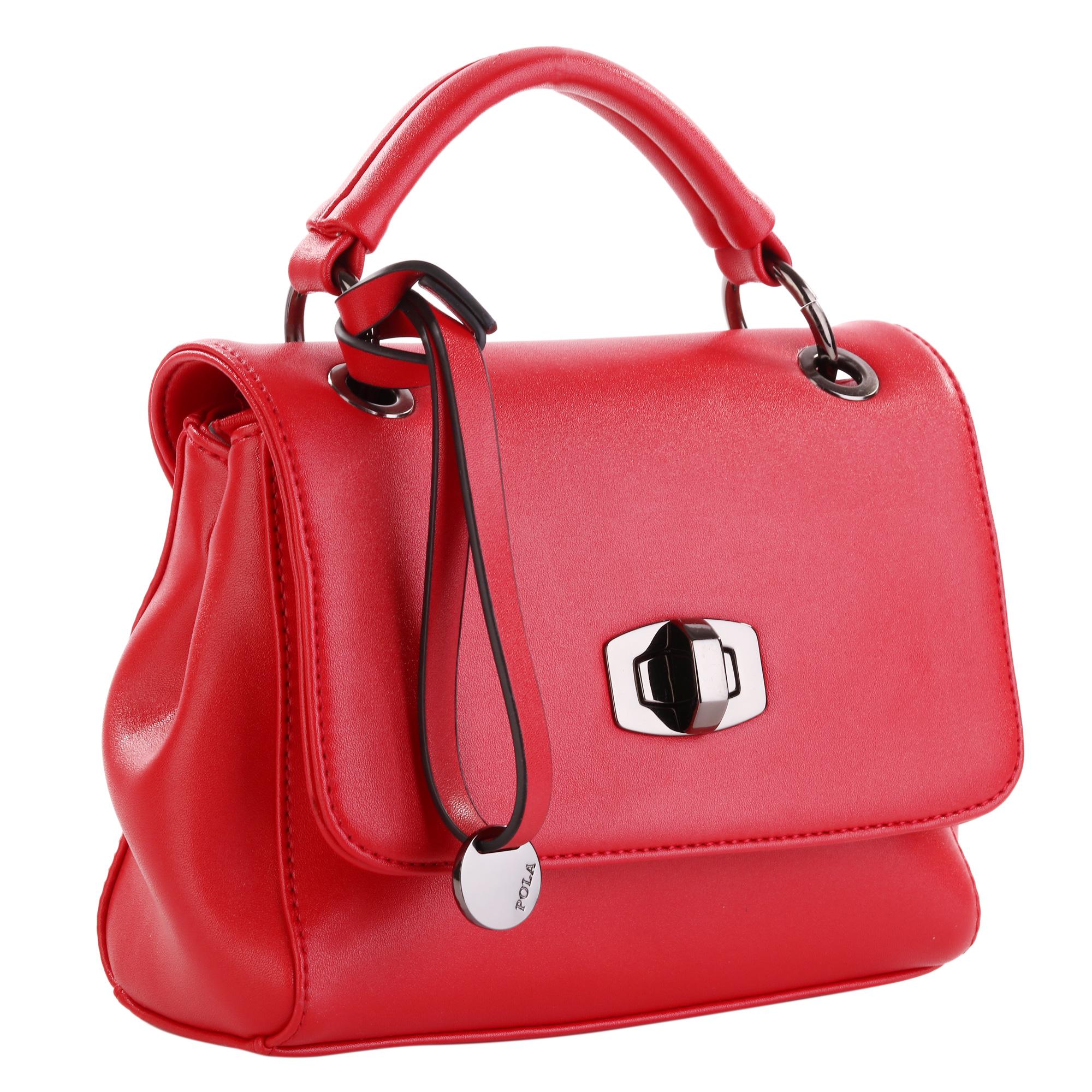 Сумка женская Pola, цвет: красный. 82818281Женская сумка Pola выполнена из экокожи. Основное отделение закрывается клапаном на поворотном механизме, и застегивается на молнию. Внутри один карман на молнии и один открытый карман. В комплекте съемный плечевой ремень, регулируемый по длине, максимальная высота 65 см. Высота ручки- 8 см. Цвет фурнитуры- черный.
