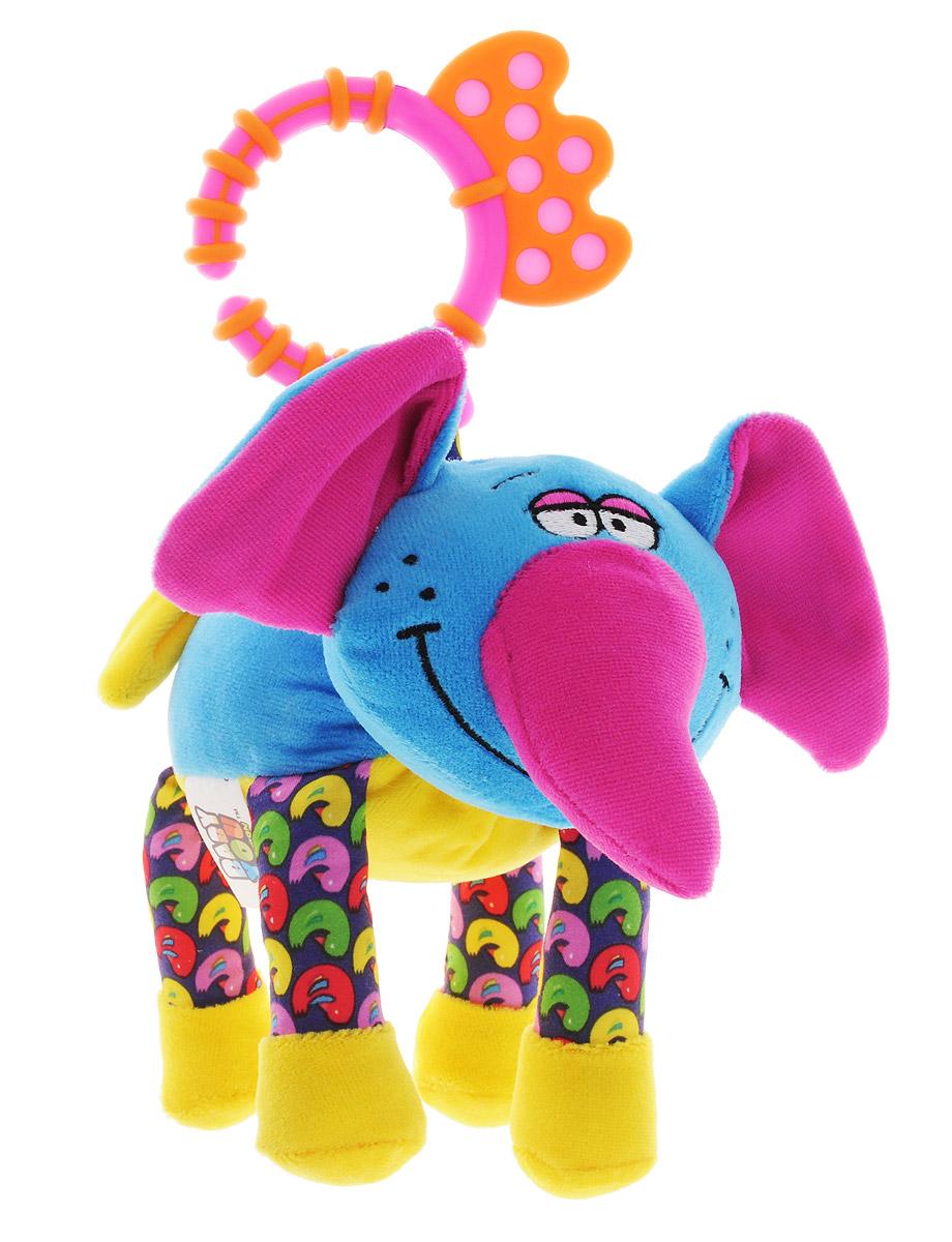 Bondibon Мягкая развивающая игрушка-растяжка СлонВВ1293_ слонМягкая развивающая игрушка Слон изготовлена из ярких тканей разных цветов и разной фактуры. Как же весело и интересно ее рассматривать! Но держать ее в маленьких ручках еще интереснее, ведь она таит в себе столько приятных сюрпризов и удивительных открытий! Игрушка представляет собой смешного синего слоника на веревочке-растяжке. Растяжка оборудована механизмом, веревочка с игрушкой способна растягиваться и сжиматься. При сжатии веревочки, игрушка вибрирует и издает громкий крик слона. Внутри ушек спрятаны шуршащие элементы. Слоника можно использовать в качестве подвески над кроваткой или коляской, подвесив за практичное пластиковое кольцо. Яркая игрушка формирует тактильные ощущения, восприятие звуков, цветов и форм. В процессе игры развивается мелкая моторика и воображение вашего ребенка.