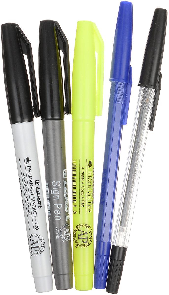 Luxor Набор канцелярский 5 предметов1321Канцелярский набор Luxor станет незаменимым атрибутом в учебе. Набор включает в себя две шариковые ручки с синими и черными чернилами, маркер, текстовыделитель и ручку для подписи. У ручек, маркеров и текстовыделителя имеются колпачки с удобными клипами. Маркеры заправлены черными чернилами, текстовыделитель - желтым. Канцелярский набор Luxor - идеальное решение для школы и офиса!