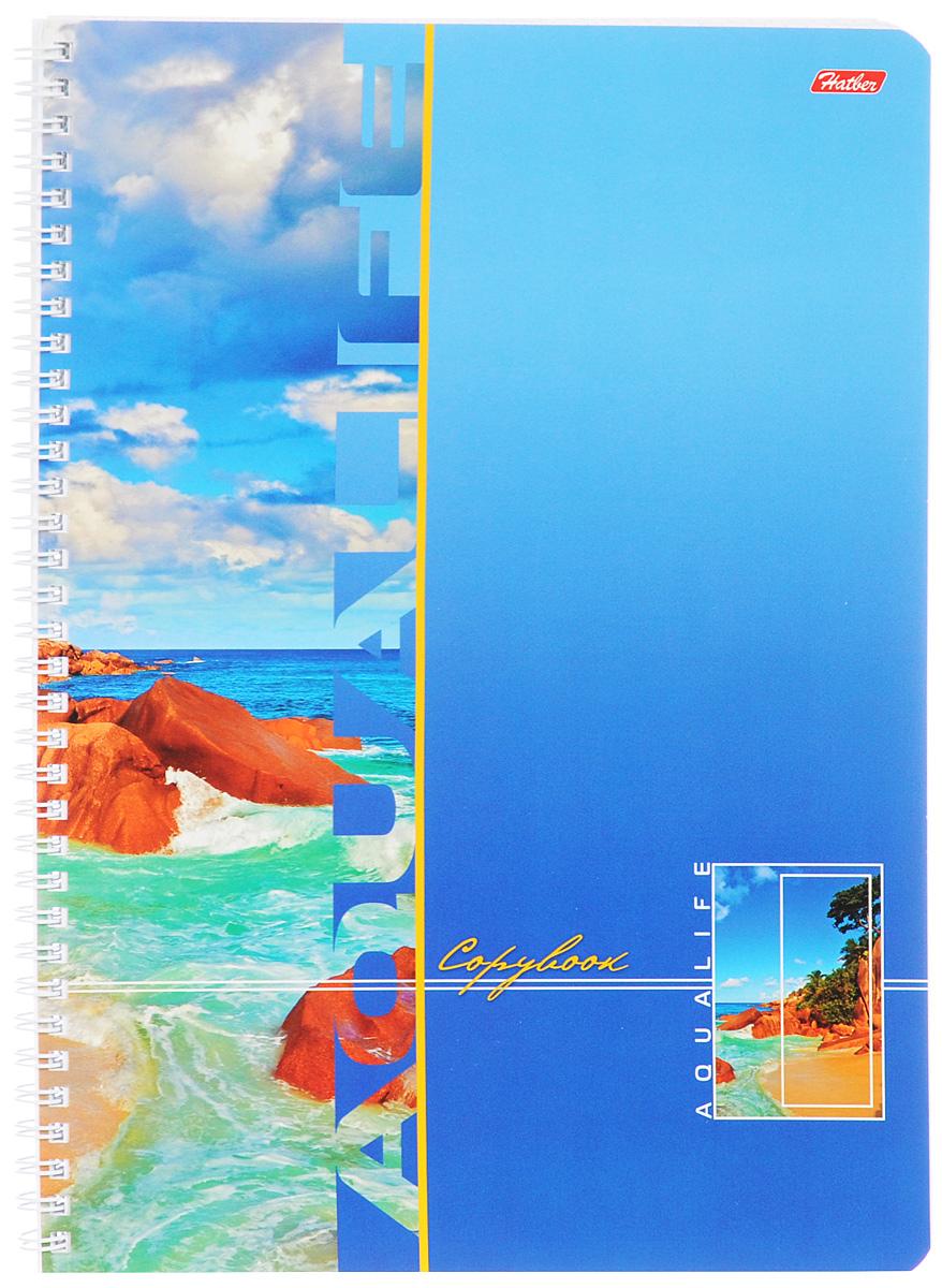 Hatber Тетрадь Аквалайф 96 листов в клетку цвет голубой96Т4B1гр_голубойТетрадь Hatber Аквалайф отлично подойдет для школьников, студентов и офисных работников. Обложка, выполненная из плотного картона, позволит сохранить тетрадь в аккуратном состоянии на протяжении всего времени использования. Лицевая сторона оформлена изображением морского пейзажа. Внутренний блок тетради, соединенный металлическим гребнем, состоит из 96 листов белой бумаги. Стандартная линовка в клетку голубого цвета без полей.