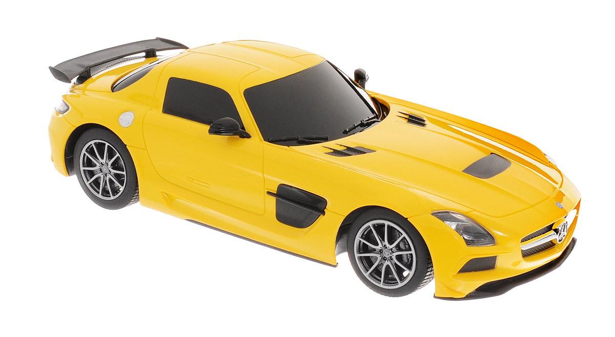 Rastar Радиоуправляемая модель Mercedes-Benz SLS AMG цвет желтый54100_желтыйРадиоуправляемая модель Rastar Mercedes-Benz SLS AMG станет первым гоночным автомобилем вашего малыша. Это точная копия настоящего автомобиля в масштабе 1:18. Юные гонщики оценят эту машину за прекрасные технические характеристики и полную свободу передвижений в любую сторону. Моделью легко управлять и любая гонка принесет удовольствие. Управление машинкой происходит с помощью удобного пульта. Автомобиль двигается вперед и назад, поворачивает направо, налево и останавливается. Автомобиль изготовлен из пластика с металлическими элементами. Колеса игрушки прорезинены и обеспечивают плавный ход, машинка не портит напольное покрытие. Пульт управления работает на частоте 27 MHz. Машина обладает световыми эффектами. Радиоуправляемые игрушки способствуют развитию координации движений, моторики и ловкости. Ваш ребенок увлеченно будет играть с моделью, придумывая различные истории и устраивая соревнования. Машина работает от 4 батареек типа АА (не входят в комплект). Для...