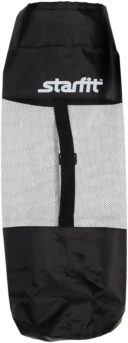 Cумка спортивная для ковриков Starfit FA-301, цвет: черный, 30 х 70 смУТ-00008961Star Fit FA-301 - это сумка, предназначенная для комфортной транспортировки ковриков для йоги и фитнеса, а так же компактного хранения их. Она выполнена из ПВХ и текстиля Сумка имеет удобный ремень через плечо, который регулируется по длине. Вверху чехол затягивается веревкой, клипса фиксирует плотность закрытия.
