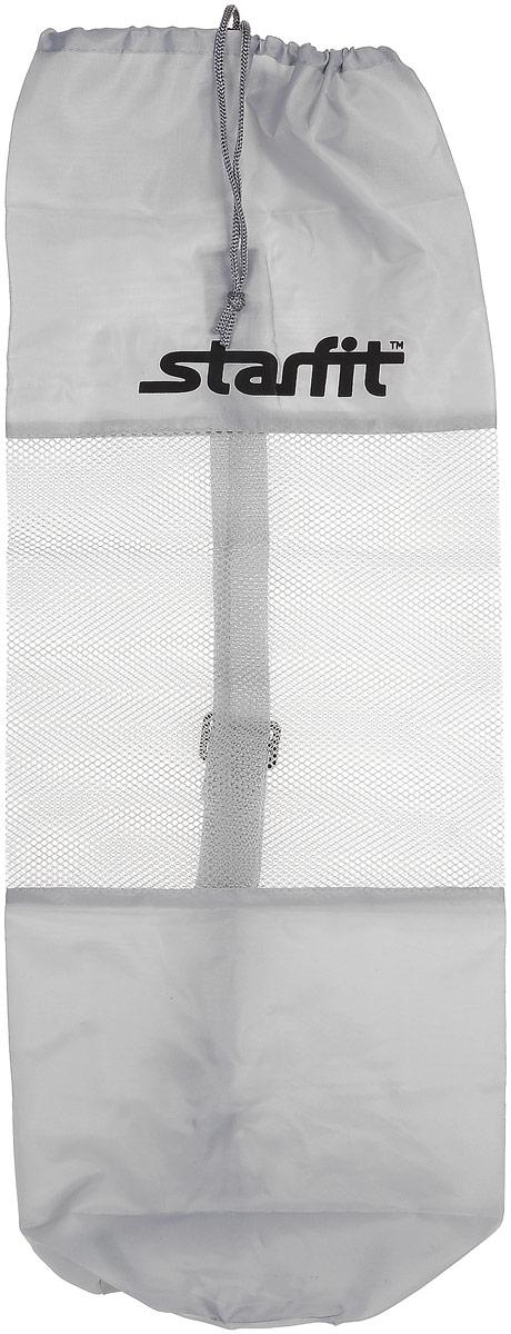 Cумка спортивная для ковриков Starfit FA-301, цвет: серый, 24,5 х 66 смУТ-00008960Star Fit FA-301 - это сумка, предназначенная для комфортной транспортировки ковриков для йоги и фитнеса, а так же компактного хранения их. Она выполнена из ПВХ и текстиля Сумка имеет удобный ремень через плечо, который регулируется по длине. Вверху чехол затягивается веревкой, клипса фиксирует плотность закрытия.
