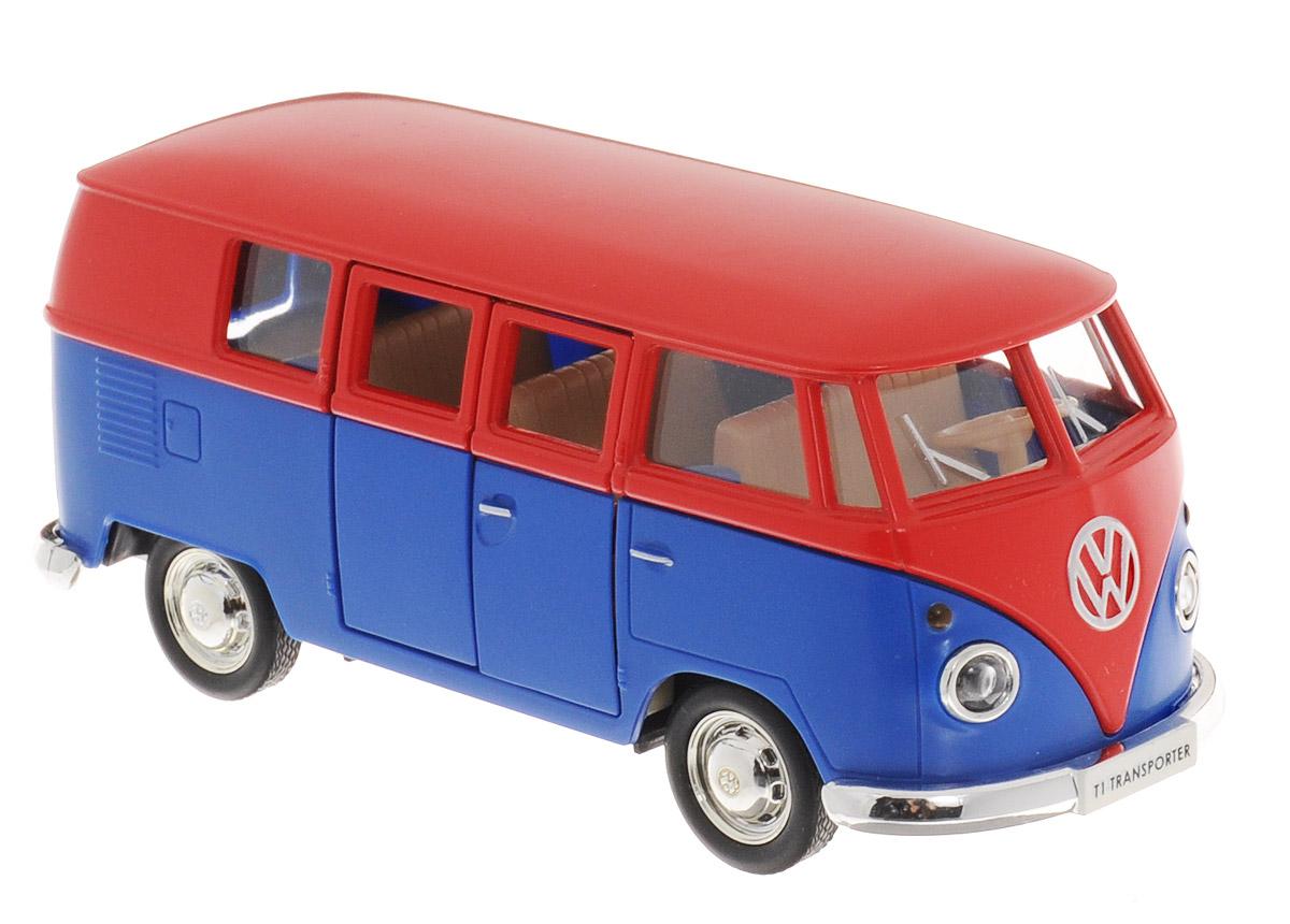 Uni-Fortune Toys Модель автобуса Volkswagen T1 Transporter цвет красный синий554025M(H)_красный, синийМодель автобуса Uni-Fortune Toys Volkswagen T1 Transporter привлечет внимание не только ребенка, но и взрослого. Модель является точной уменьшенной копией пассажирского автобуса компании Volkswagen в масштабе 1/32. Корпус автобуса выполнен из металла и пластика. Модель оснащена инерционным механизмом. Чтобы привести игрушку в движение, необходимо отвести ее назад, затем отпустить - и она быстро поедет вперед. Прорезиненные колеса обеспечивают надежное сцепление с любой поверхностью пола. Двери автобуса открываются. Такая замечательная модель компактного размера позволит ребенку разыграть множество игровых ситуаций.