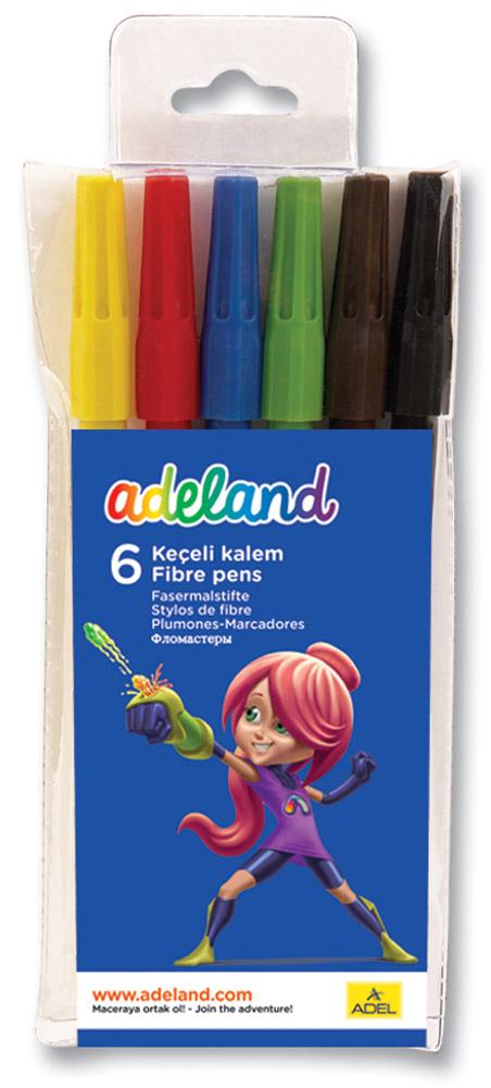 Adel Набор цветных фломастеров Adeland 6 шт222-0222-100Цветные фломастеры Adel Adeland созданы специально для детей, любящих рисовать. Каждый фломастер оснащен вентилируемым колпачком и заправлен быстро сохнущими чернилами. Они подходят для рисования, письма или раскрашивания на бумаге, картоне и дереве. Набор состоит из 6 фломастеров с водорастворимыми чернилами. Фломастеры упакованы в пластиковый футляр с изображением героини Adelia из турецкого мультфильма Renk Koruyuculari. Не рекомендуется детям до 3-х лет.
