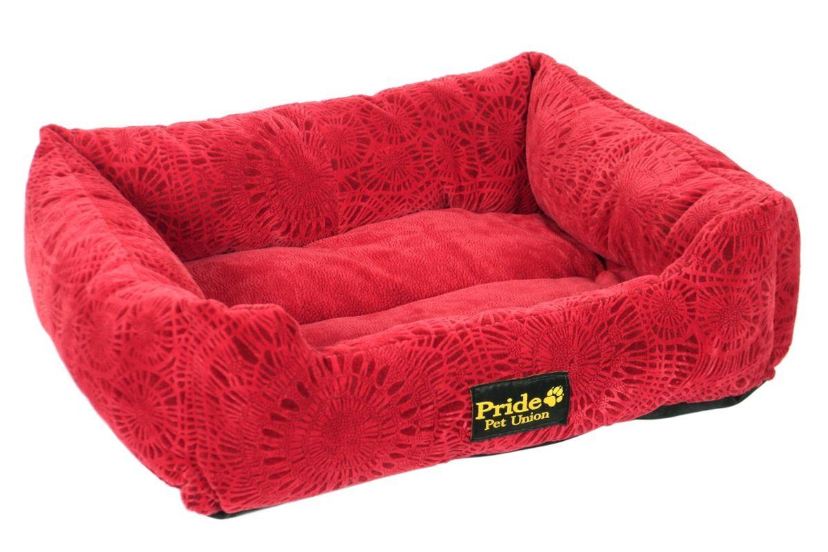 Лежак для животных Pride Фортуна, цвет: бордовый, 70 х 60 х 23 см10012342