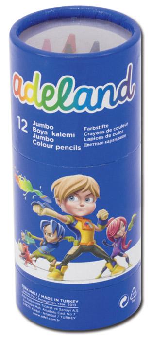 Adel Набор цветных карандашей Adeland Jumbo Hexa 12 шт211-9520-100Цветные шестигранные карандаши Adel Adeland Jumbo Hexa созданы специально для маленькой детской руки. Набор состоит из 12 ярких карандашей: голубого, синего, фиолетового, красного, оранжевого, желтого, розового, салатового, зеленого, черного, коричневого и цвета хаки. Также в комплект входит пластиковая точилка с двумя отверстиями для стандартных карандашей на 12 мм и для специализированных. Специальная технология проклейки карандаша предотвращает повреждение грифеля при падении. Не рекомендуется детям до 3-х лет.