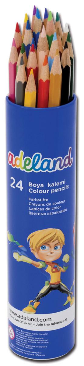 Adel Набор цветных карандашей Adeland 24 шт211-2360-103Цветные карандаши Adel Adeland созданы специально для маленькой детской руки. Специальная технология проклейки предотвращает повреждение грифеля при падении. Набор состоит из 24 ярких карандашей, которые находятся в удобном алюминиевом тубусе с изображением супер-героя. Не рекомендуется детям до 3-х лет.