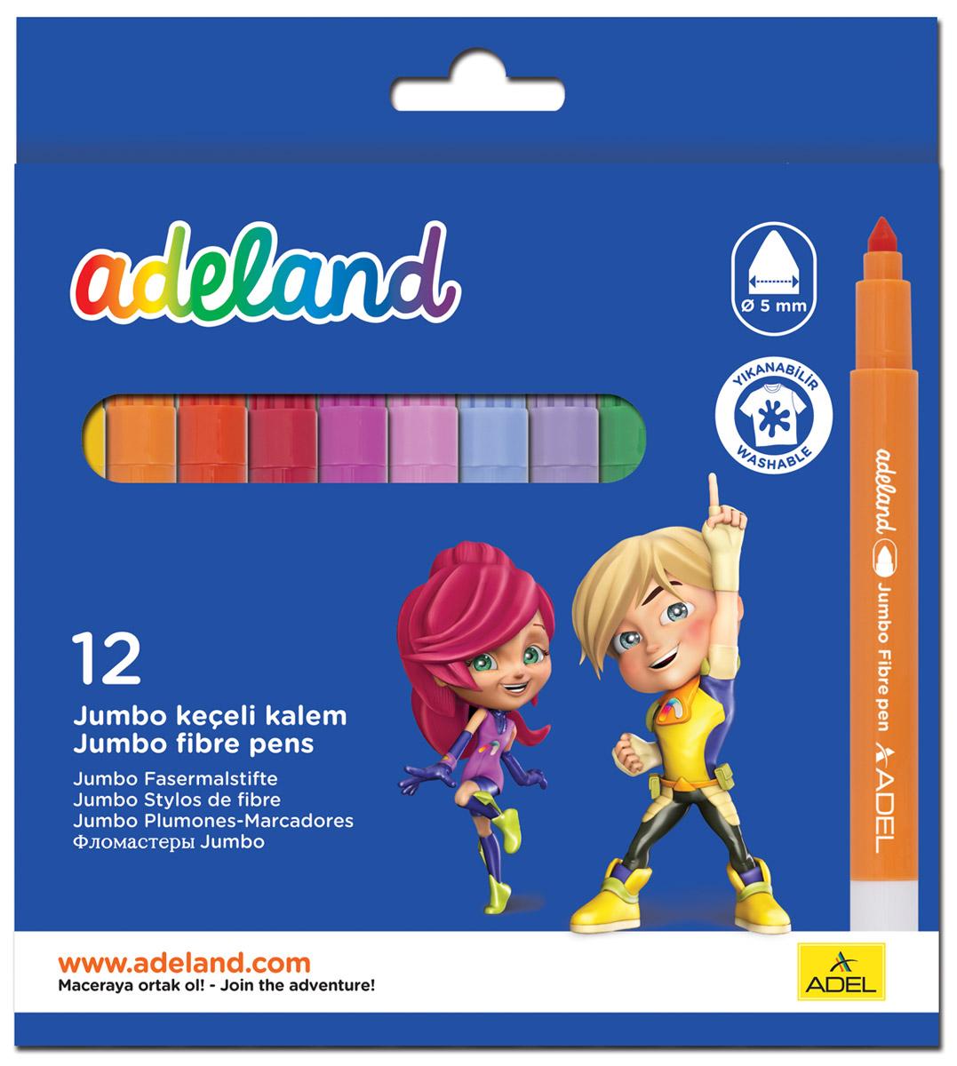 Adel Набор цветных фломастеров Adeland Jumbo 12 шт434-0214-100Цветные фломастеры Adel Adeland созданы специально для детей, любящих рисовать. Каждый фломастер оснащен вентилируемым колпачком и заправлен быстро сохнущими чернилами, которые легко смываются со многих текстильных материалов. Они прекрасно подходят для рисования, письма или раскрашивания на бумаге или картоне. Набор состоит из 12 фломастеров. Коробка оформлена изображением героев Adelia и Hiro из турецкого мультфильма Renk Koruyuculari. Не рекомендуется детям до 3-х лет.