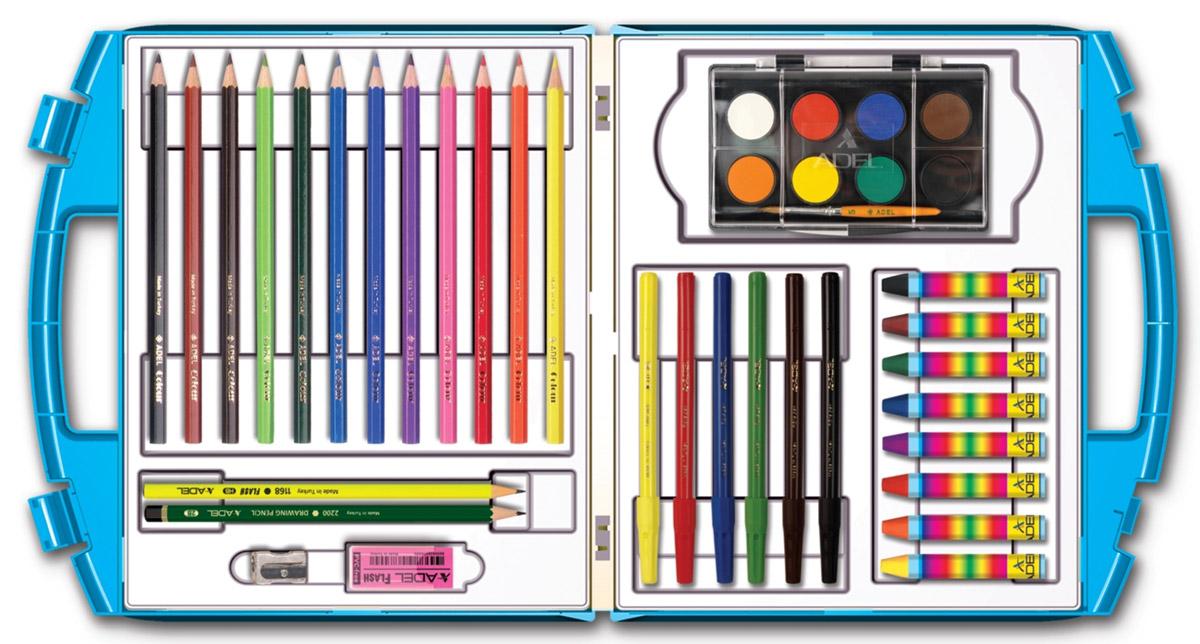 Adel Набор для рисования 38 предметов249-0119-920Набор для рисования Adel - прекрасный комплект для юного художника. Все принадлежности хранятся в удобном пластиковом чемоданчике. Разноцветные карандаши, краски, пастельные мелки и фломастеры помогут вашему малышу познакомится с различными художественными стилями и выбрать наиболее понравившийся. Яркие и качественные краски не содержат токсичных веществ, поэтому совершенно безопасны для здоровья вашего ребенка. В комплект также входят ластик и точилка. Не рекомендуется детям до 3-х лет.