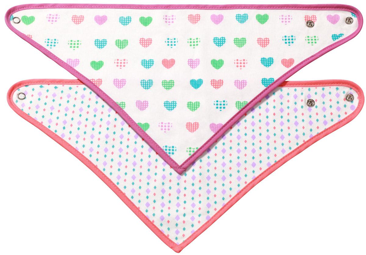 BabyOno Набор нагрудников треугольной формы (сердечки/точки), 2 шт