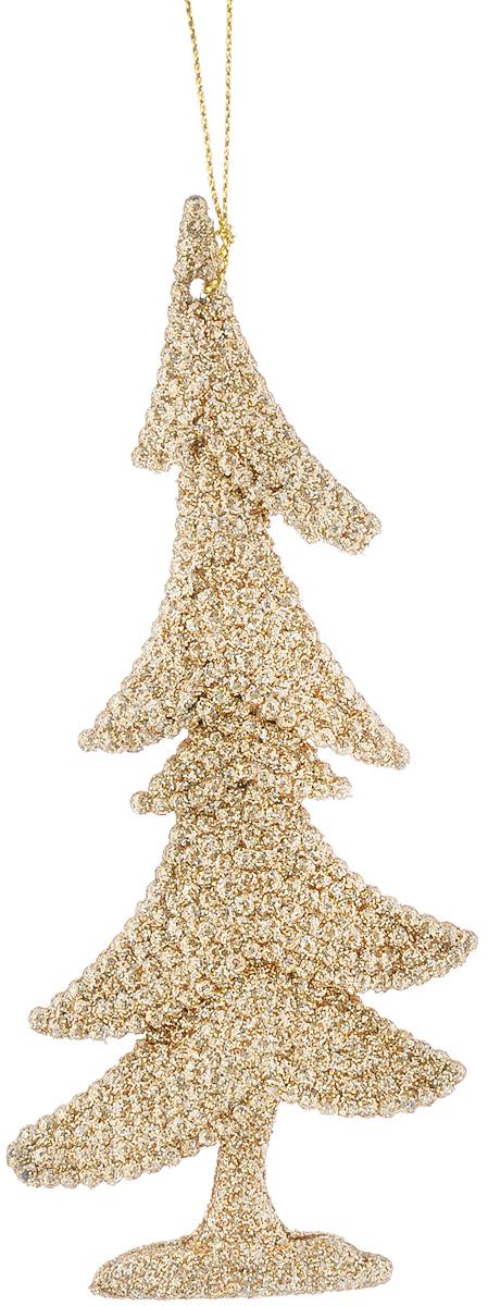 Украшение новогоднее подвесное Magic Time Золотая елочка, 15 х 6,5 см38695Новогоднее подвесное украшение Magic Time Золотая елочка выполнено из полипропилена в форме ели и украшено блестками. С помощью петельки украшение можно повесить в любом понравившемся вам месте. Но, конечно, удачнее всего оно будет смотреться на праздничной елке. Елочная игрушка - символ Нового года. Она несет в себе волшебство и красоту праздника. Создайте в своем доме атмосферу веселья и радости, украшая новогоднюю елку нарядными игрушками, которые будут из года в год накапливать теплоту воспоминаний. Материал: полипропилен. Размеры: 15 х 6,5 см.