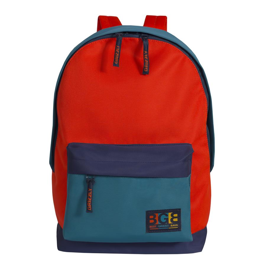 Рюкзак молодежный Grizzly, цвет: синий-оранжевый. 18 л. RU-704-3/4RU-704-3/4Рюкзак молодежный, одно отделение, объемный карман на молнии на передней стенке, внутренний подвесной карман на молнии, укрепленная спинка, дополнительная ручка-петля, укрепленные лямки